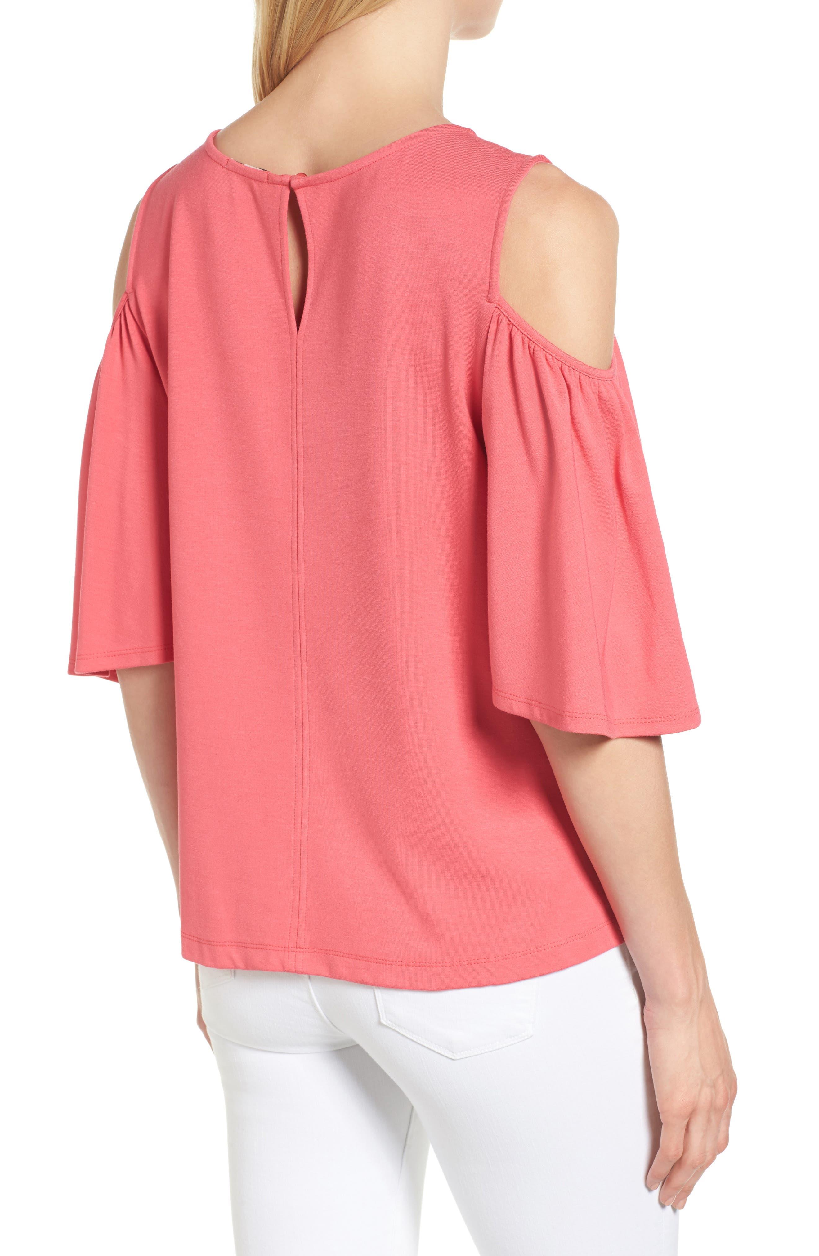 Alternate Image 2  - Halogen® Knit Cold Shoulder Top (Regular & Petite)