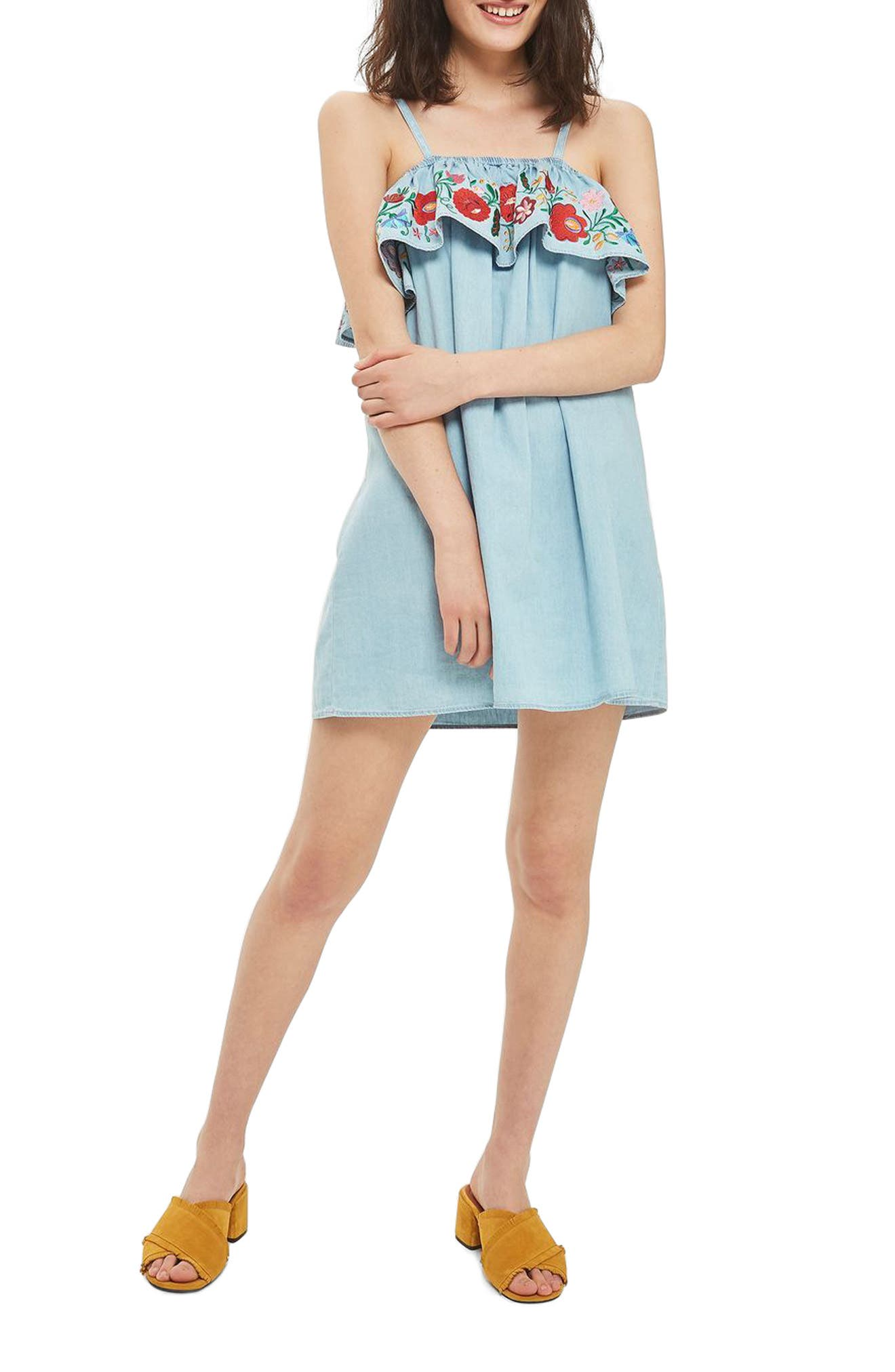 Topshop Embroidered Ruffle Shift Dress