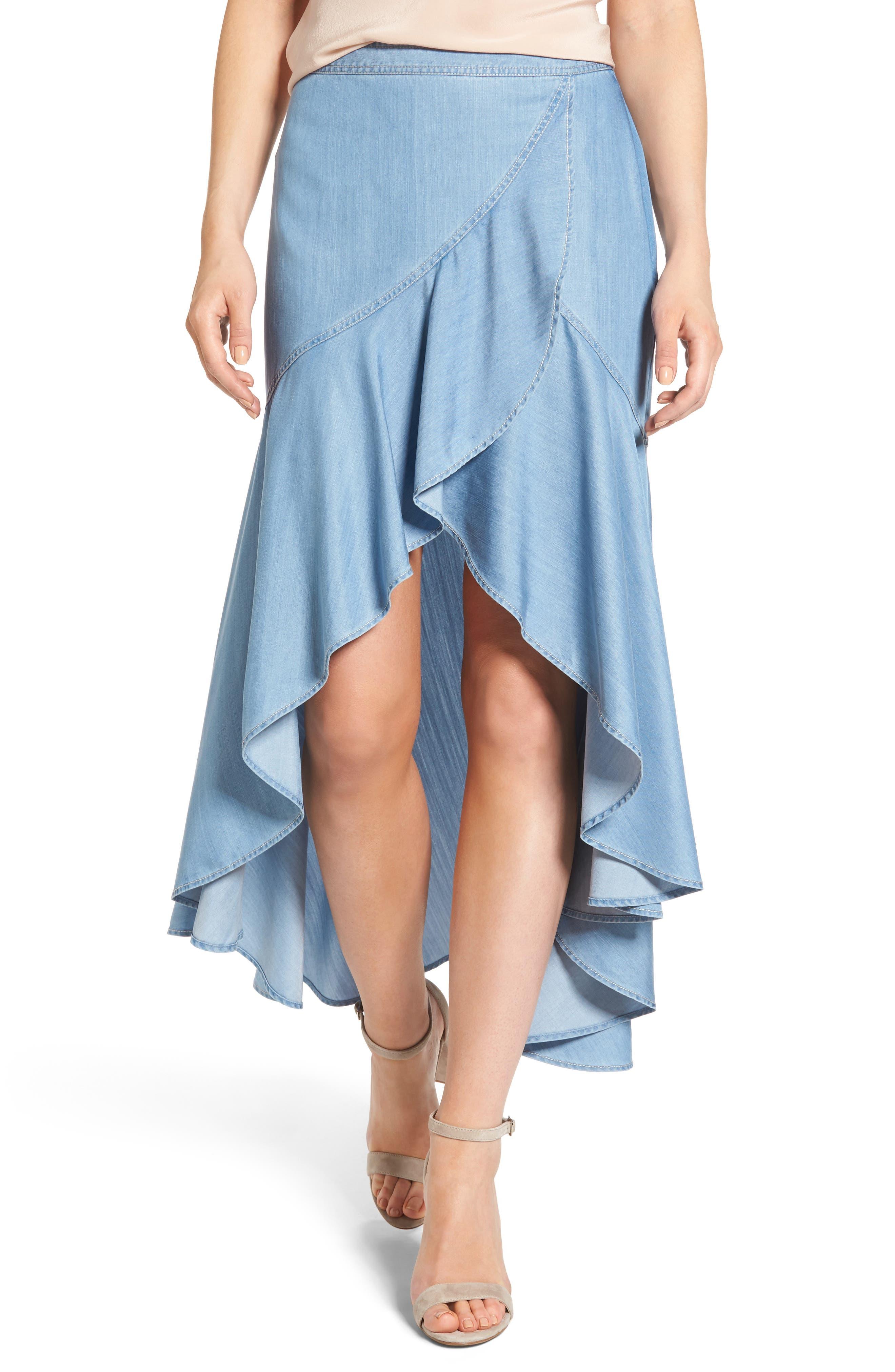 Chelsea28 High/Low Chambray Midi Skirt