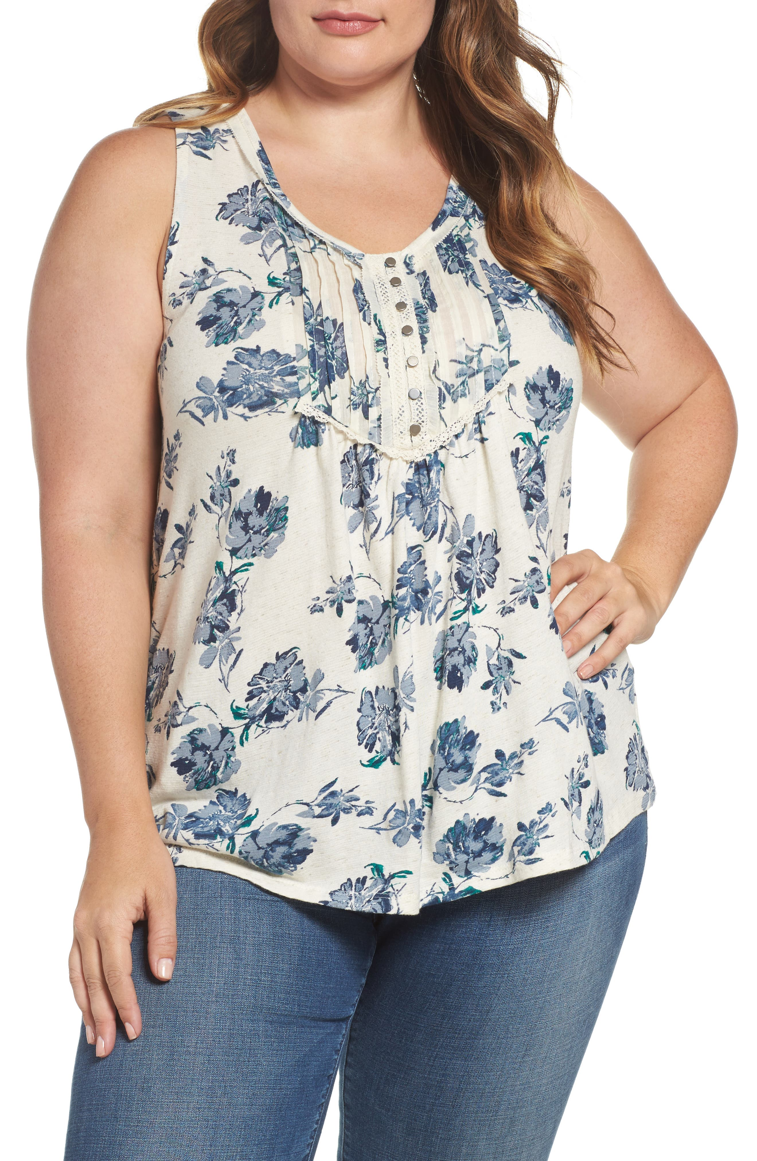 Lucky Brand Floral Print Tank (Plus Size)