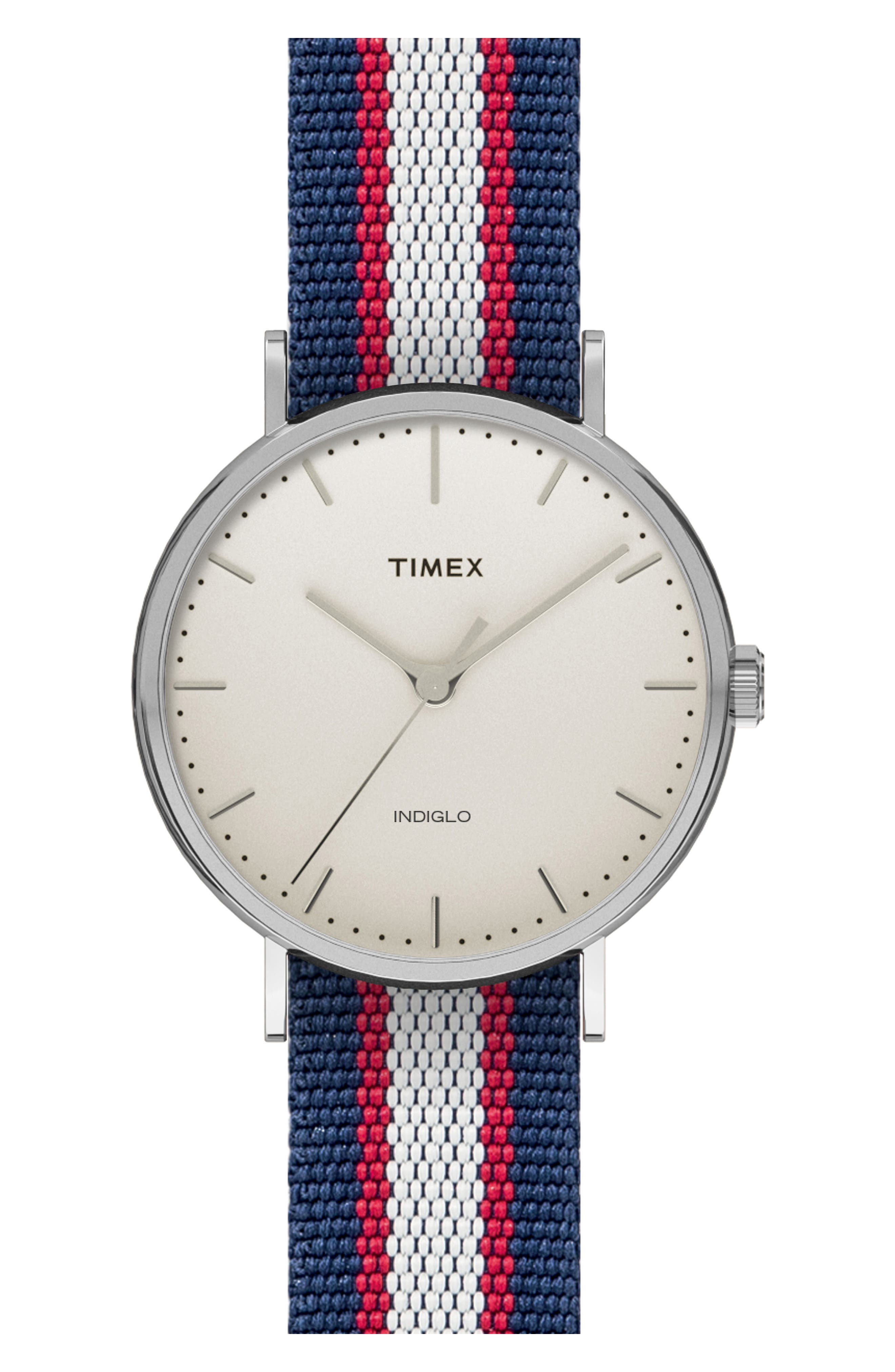 Timex® Fairfield Pavilion Round Nylon Strap Watch, 41mm