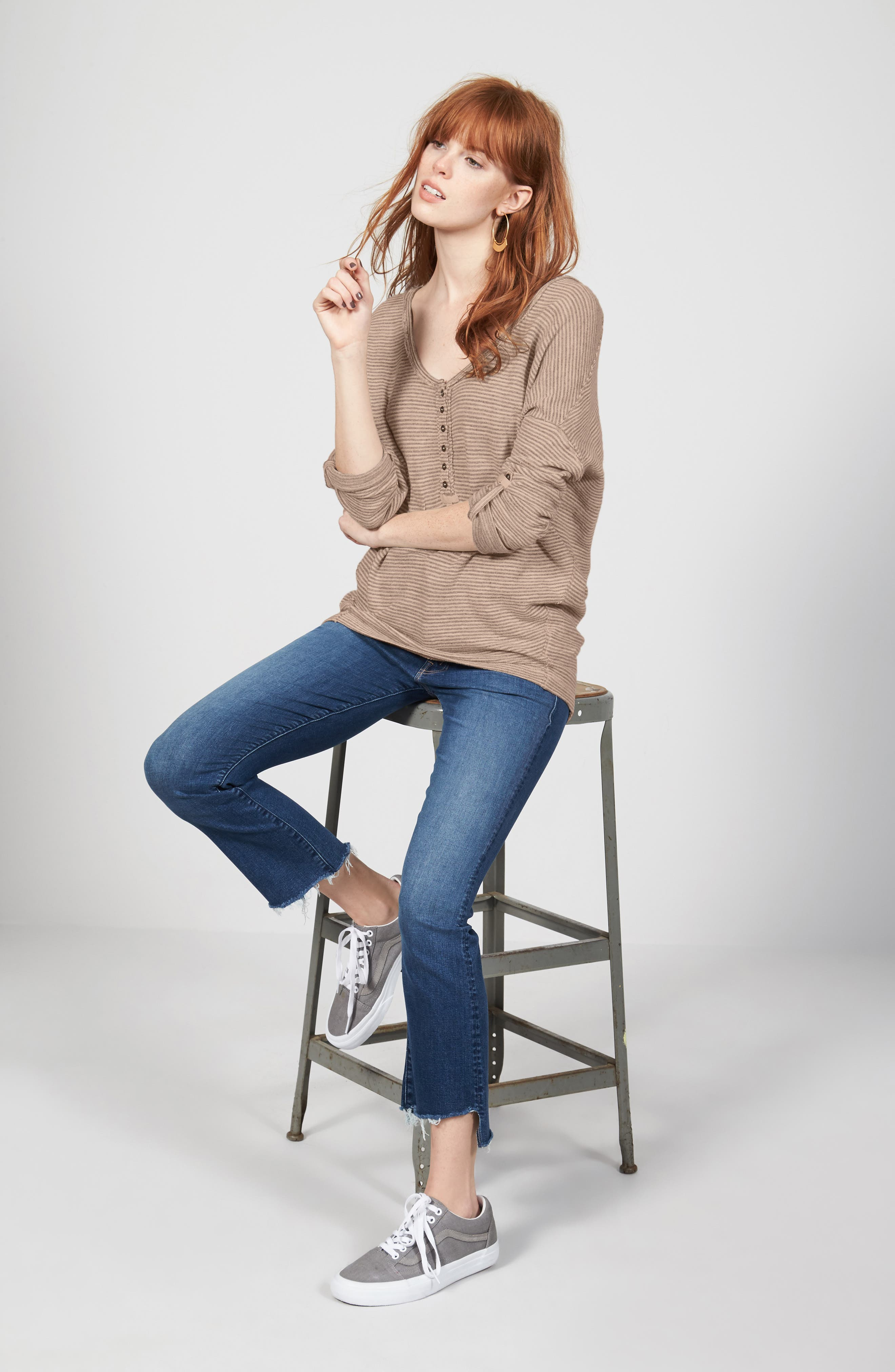 Free People Tee & MOTHER Jeans Outfit with Accessories