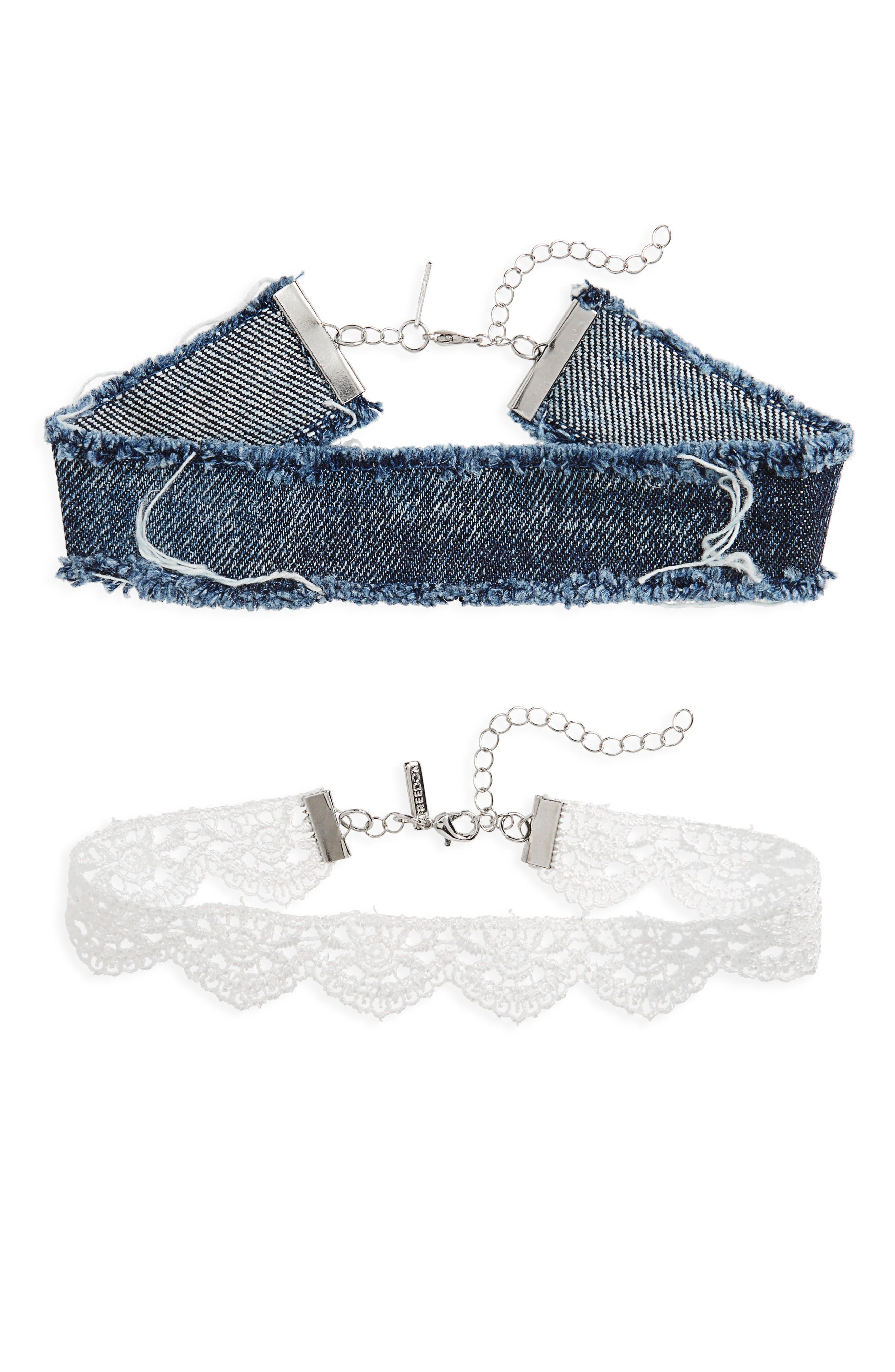 Topshop Set of 2 Lace & Denim Chokers
