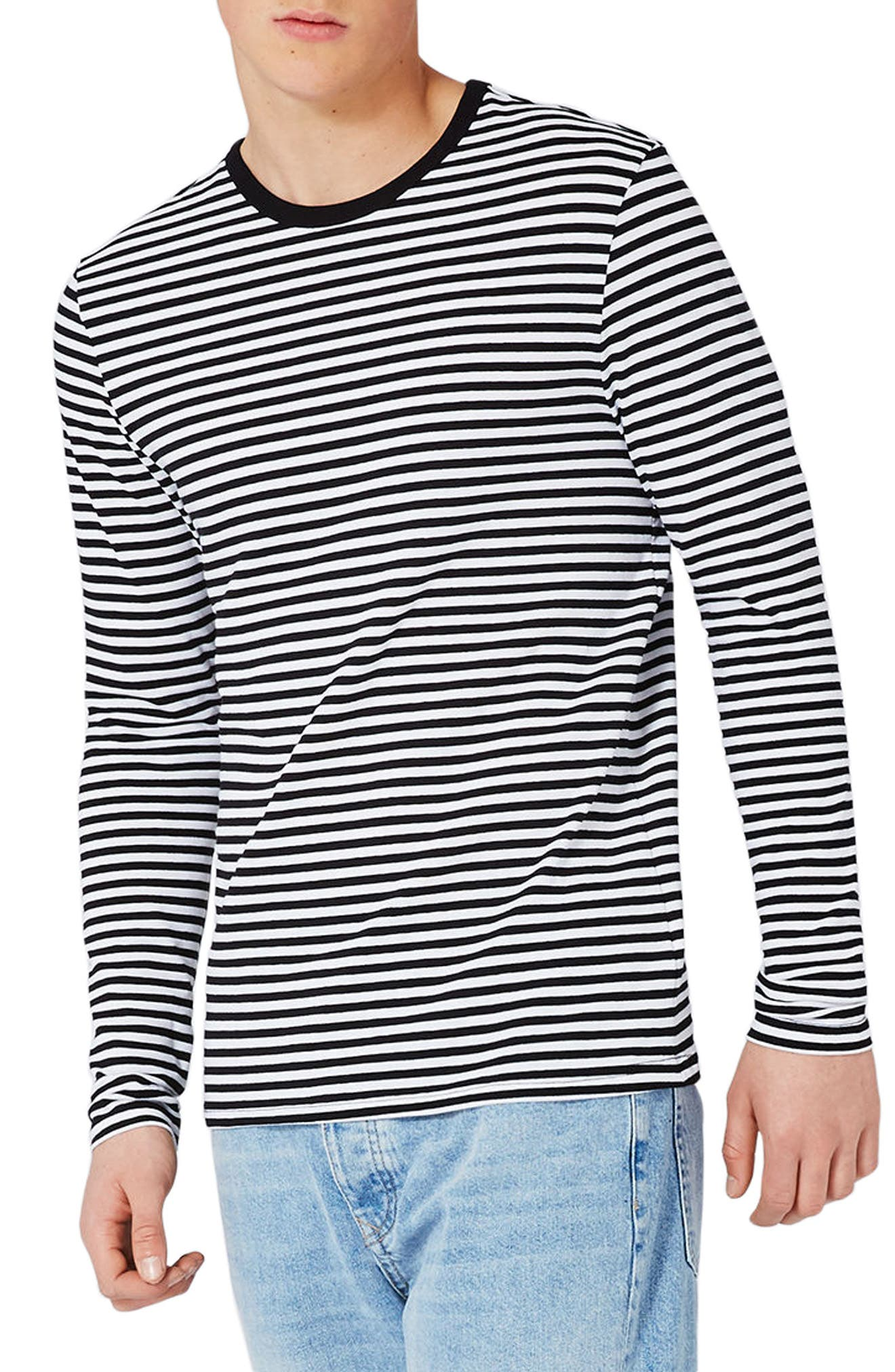 Topman Slim Fit Stripe Long Sleeve T-Shirt