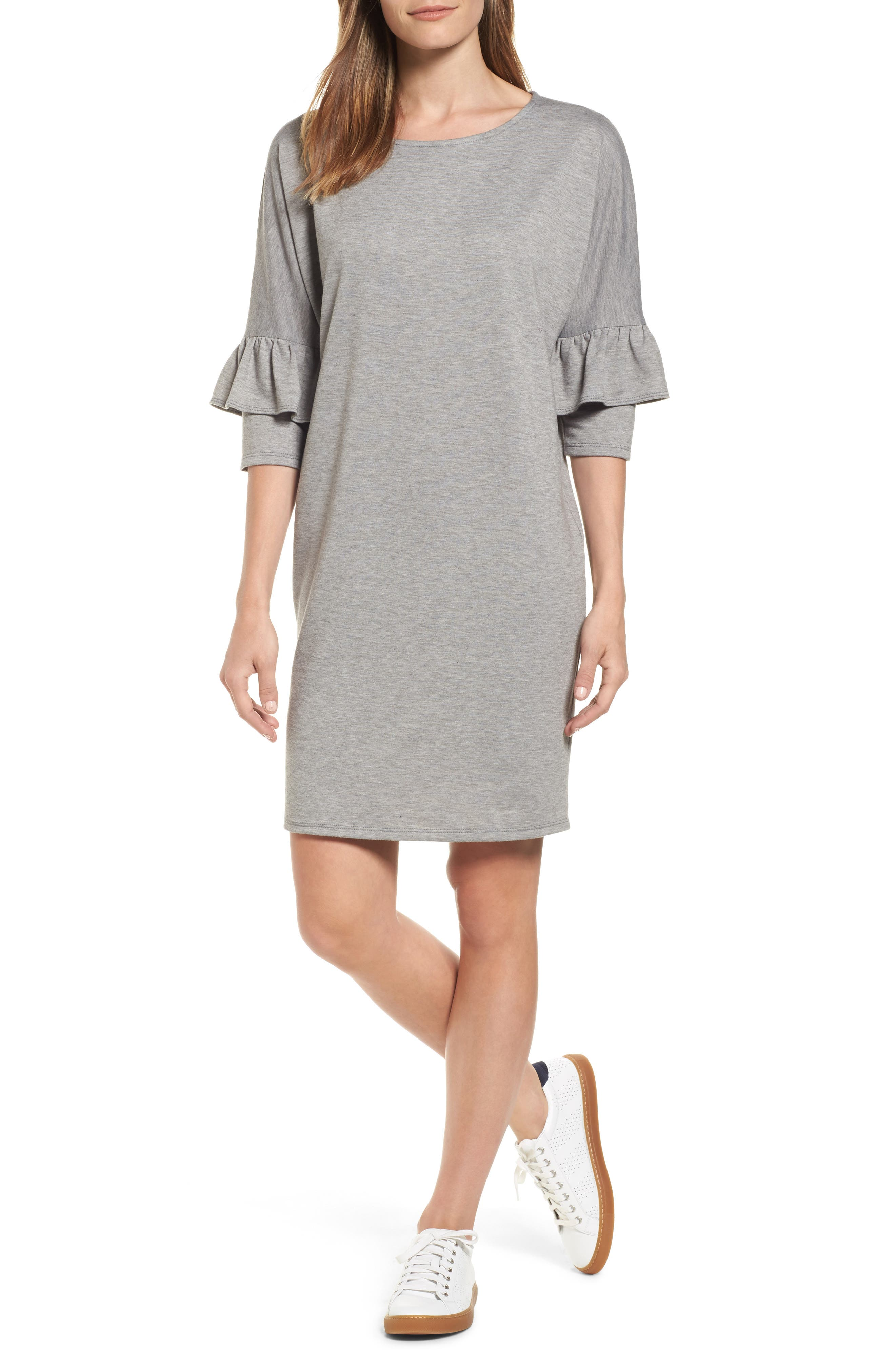 Bobeau Ruffle Sleeve Tunic Dress (Regular & Petite)