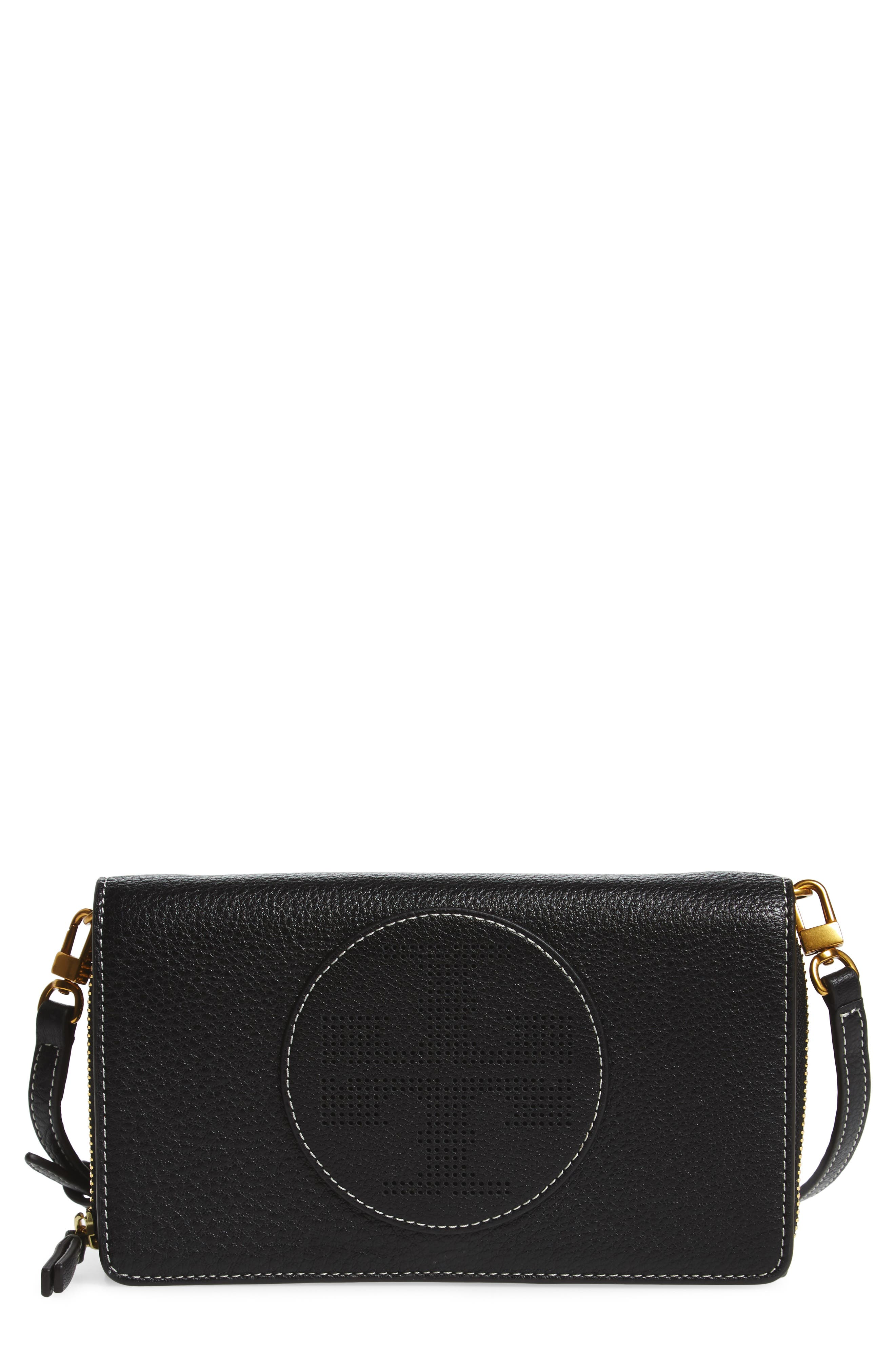 Tory Burch Perforated Leather Wallet Crossbody Bag