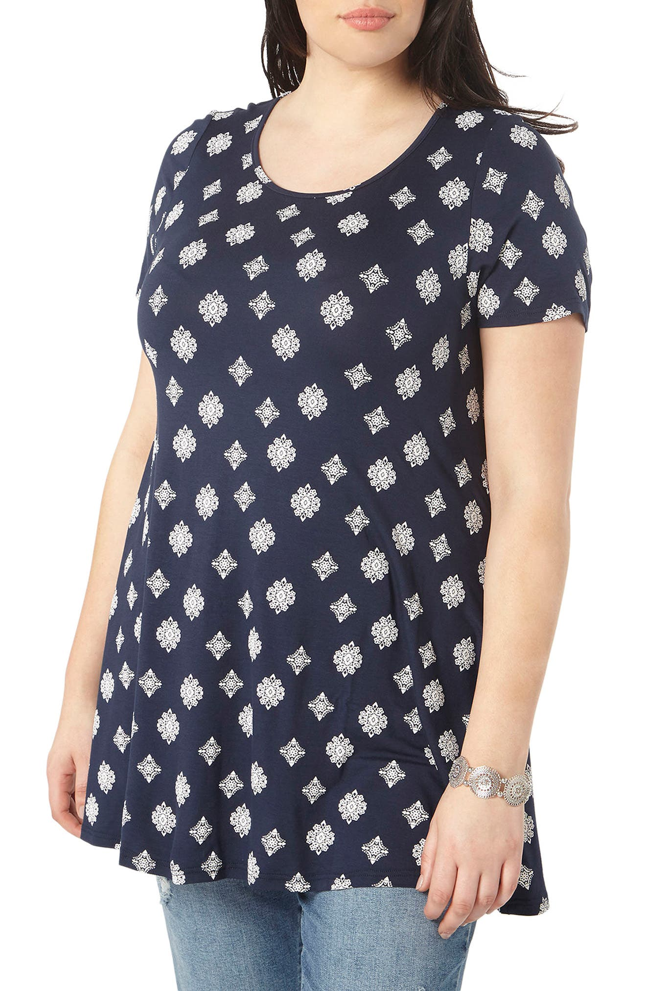 Evans Snowflake Print Swing Top (Plus Size)