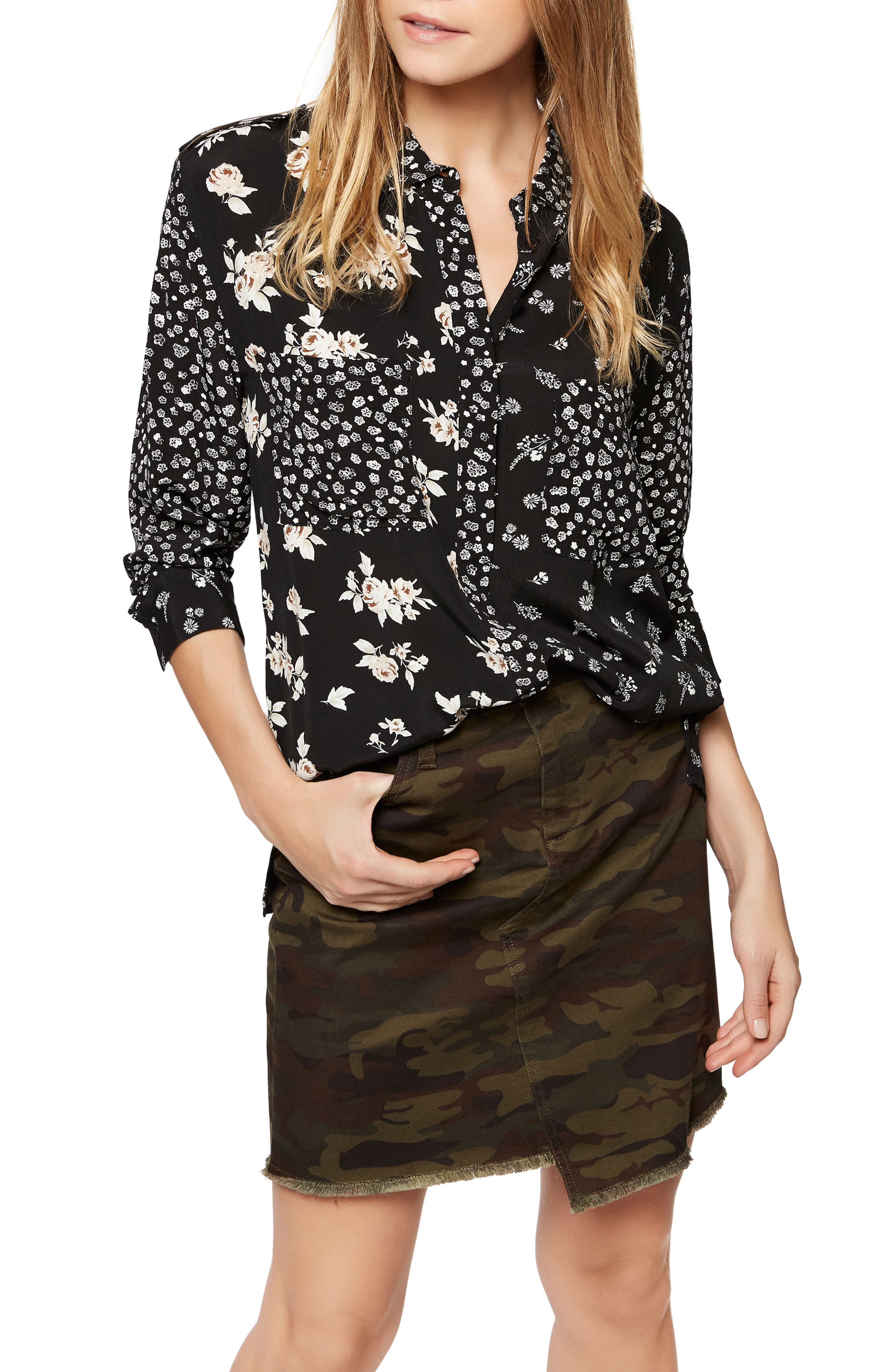 Sanctuary Floral Patchwork Shirt