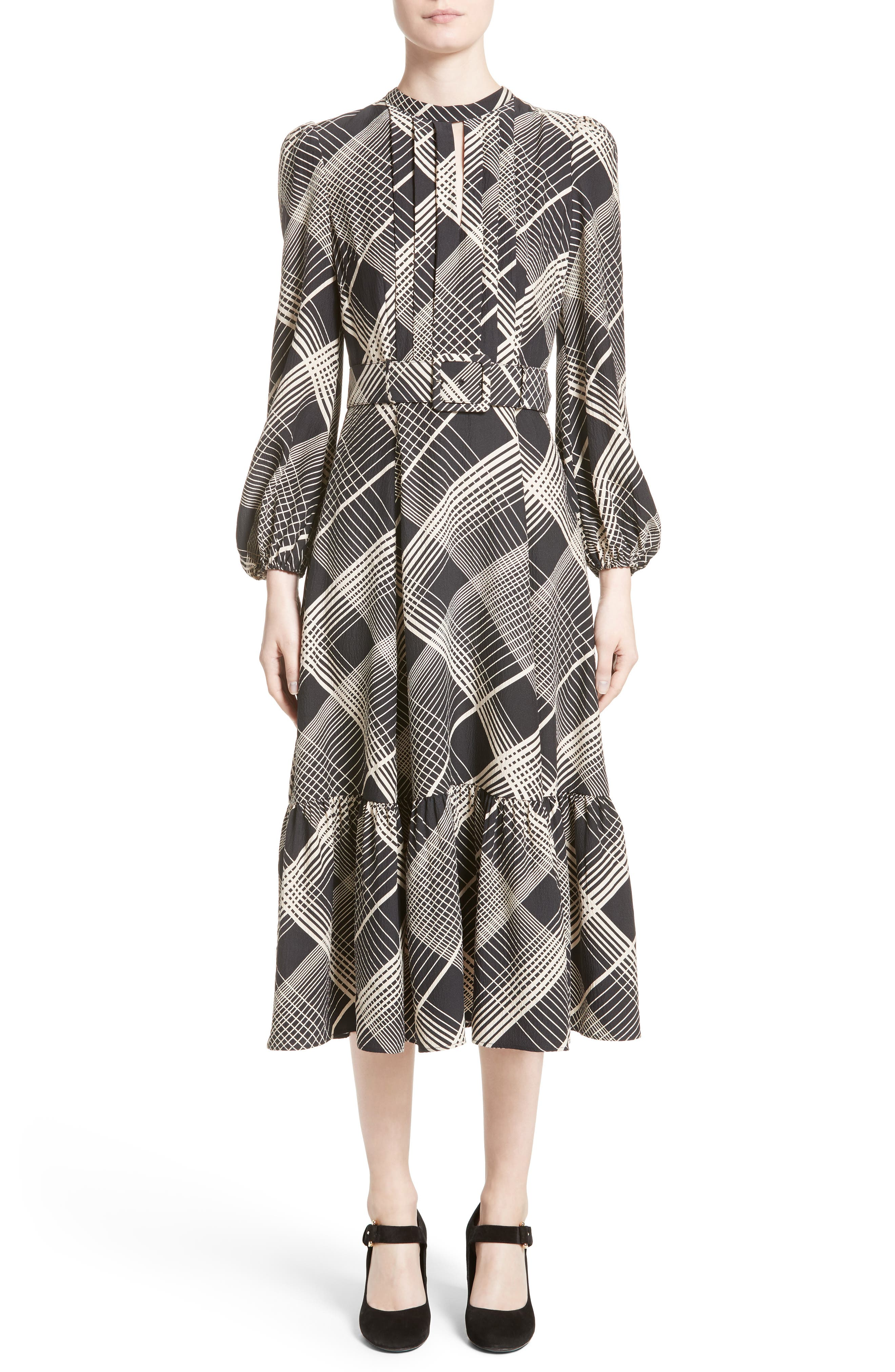 Co Plaid Hammered Silk Midi Dress