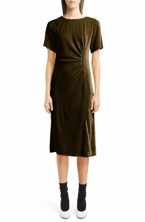 Dries Van Noten Gathered Velvet Dress