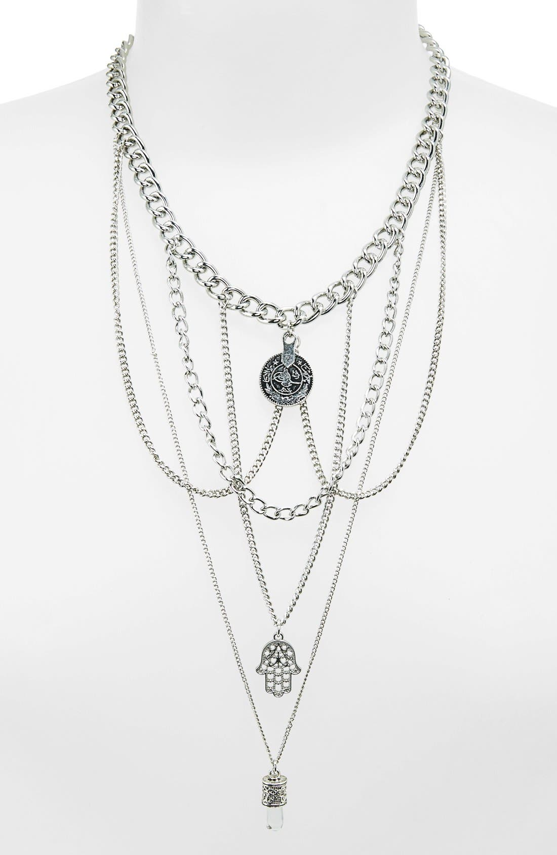 Alternate Image 1 Selected - Topshop Multi-Row Chain Link Hand of Fatima Charm Necklace