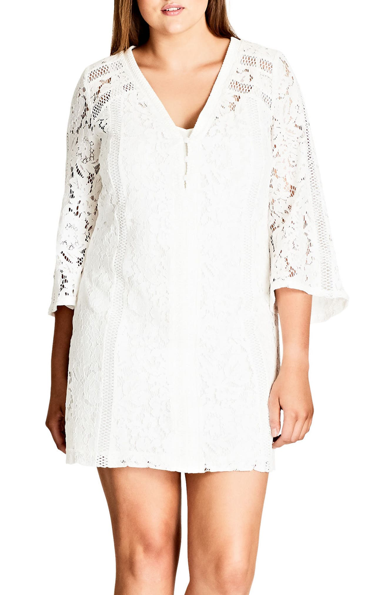 City Chic Innocent Lace Shift Dress (Plus Size)