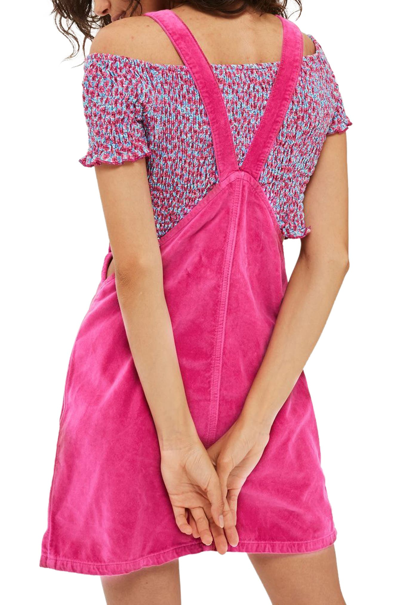 Alternate Image 2  - Topshop Velvet Pinafore Dress