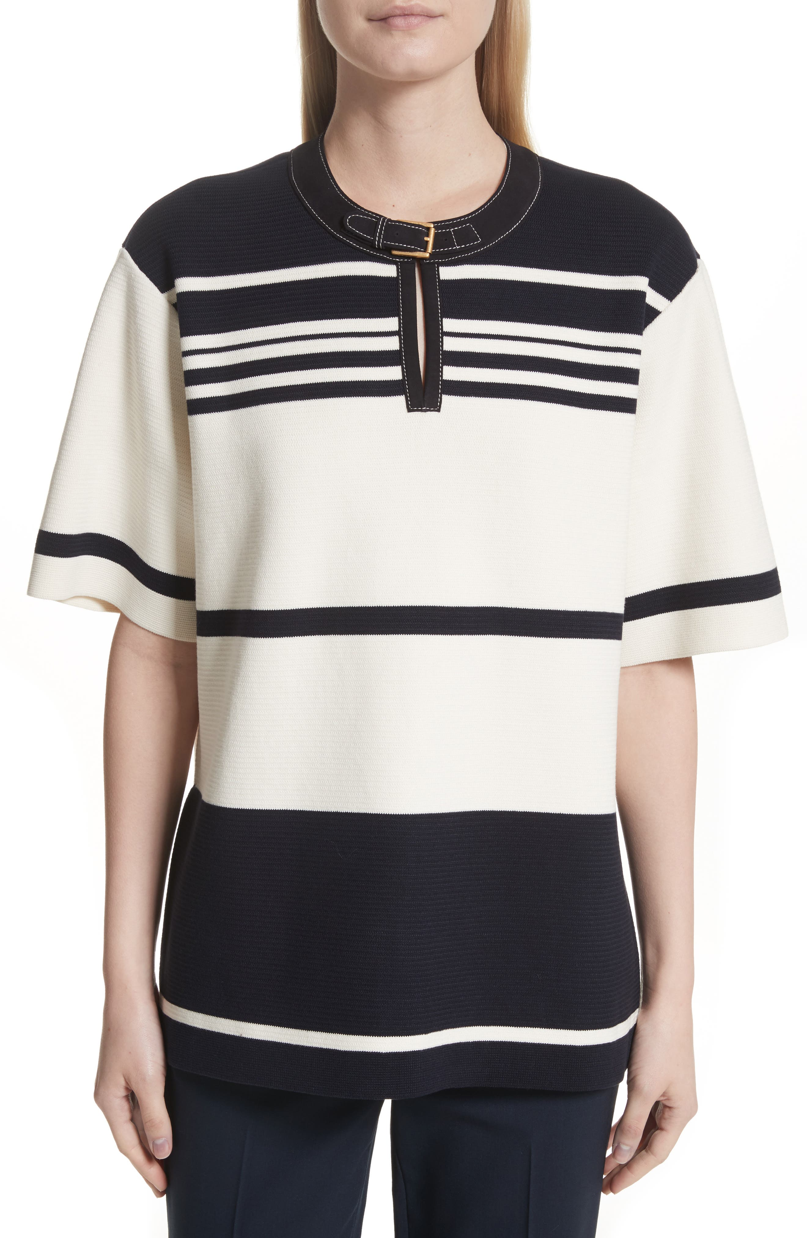 Tory Burch Krista Suede Trim Stripe Sweater