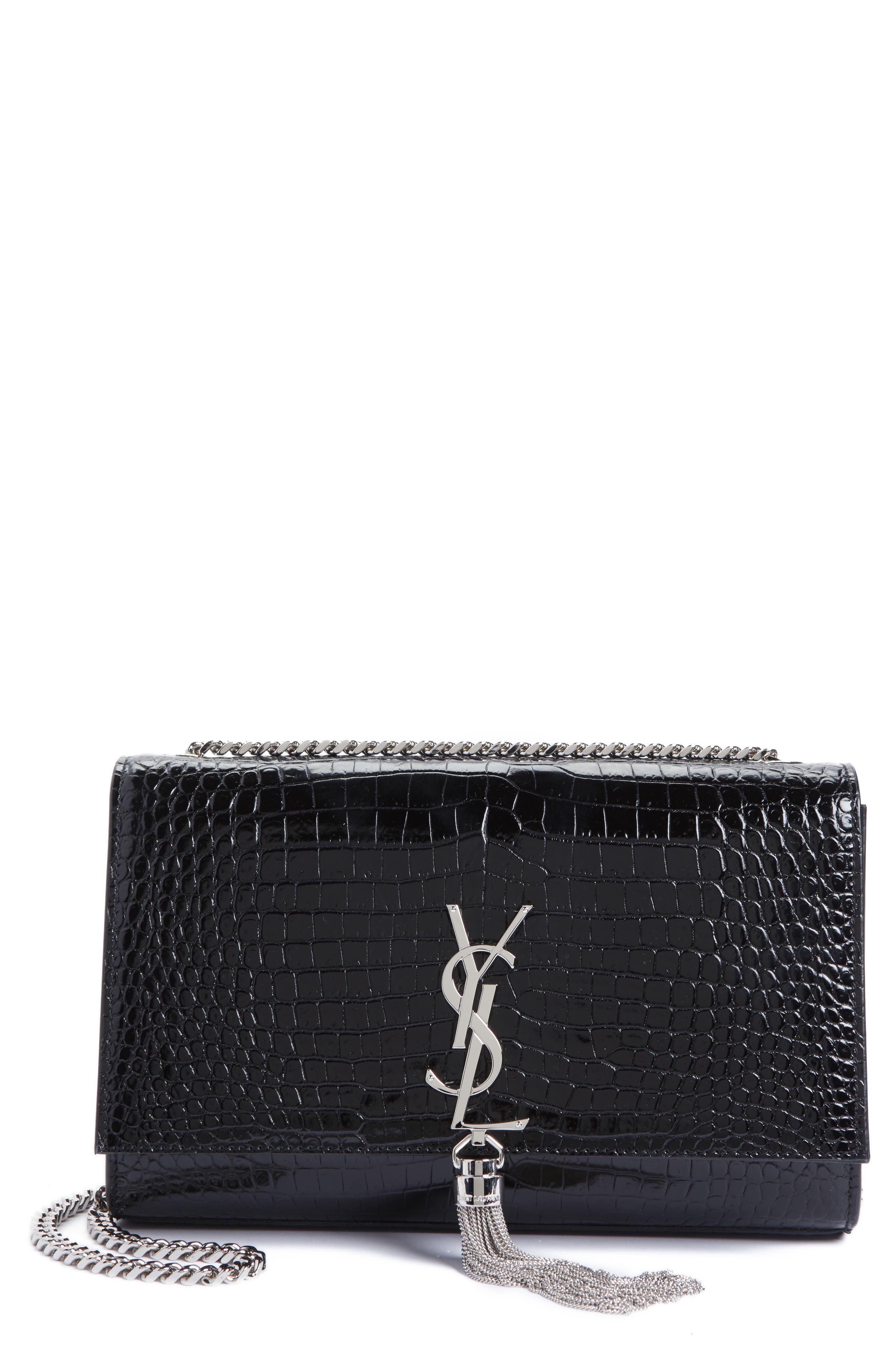 Saint Laurent Medium Kate Tassel Croc Embossed Calfskin Leather Crossbody Bag