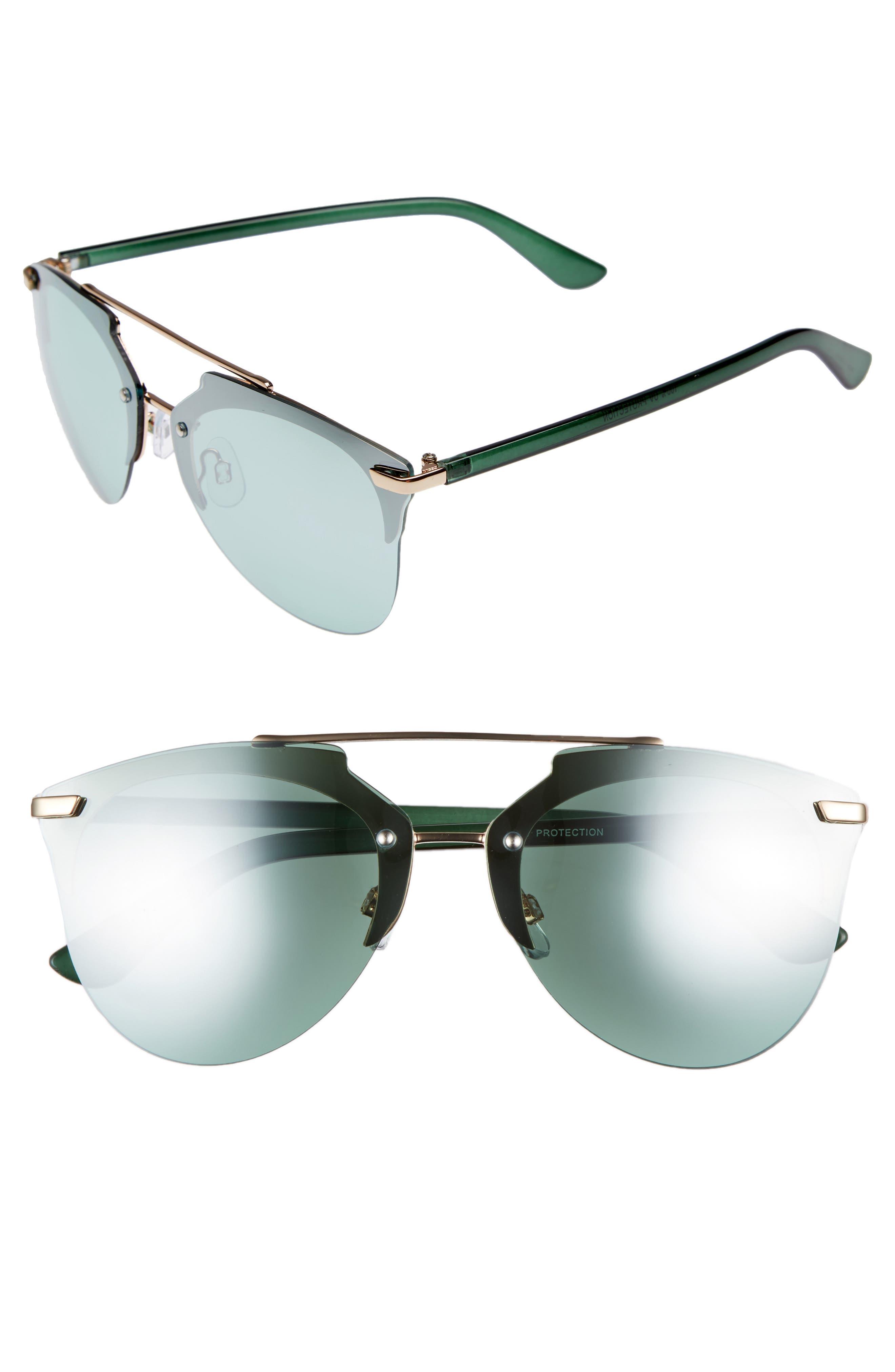 BP. 67mm Cutout Browbar Aviator Sunglasses