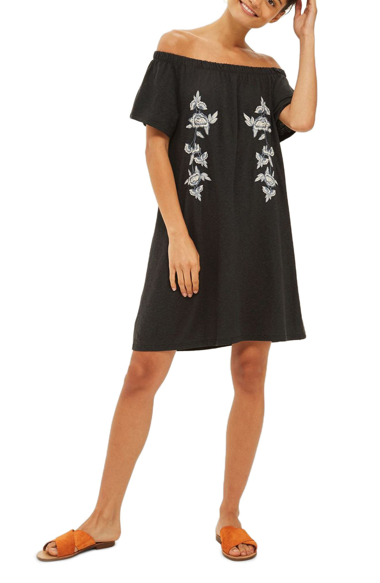 Topshop Embroidered Off the Shoulder Dress