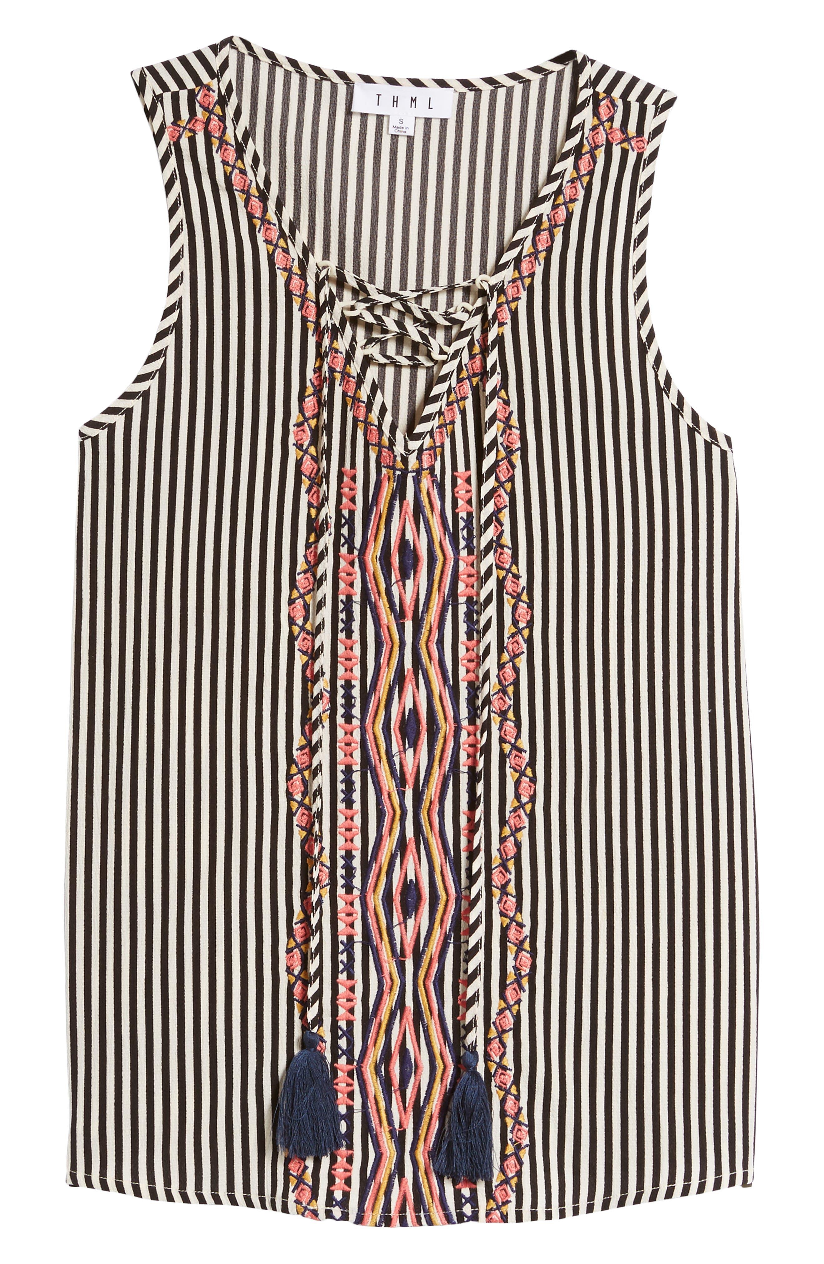 Alternate Image 6  - THML Tassel Tie Stripe Top