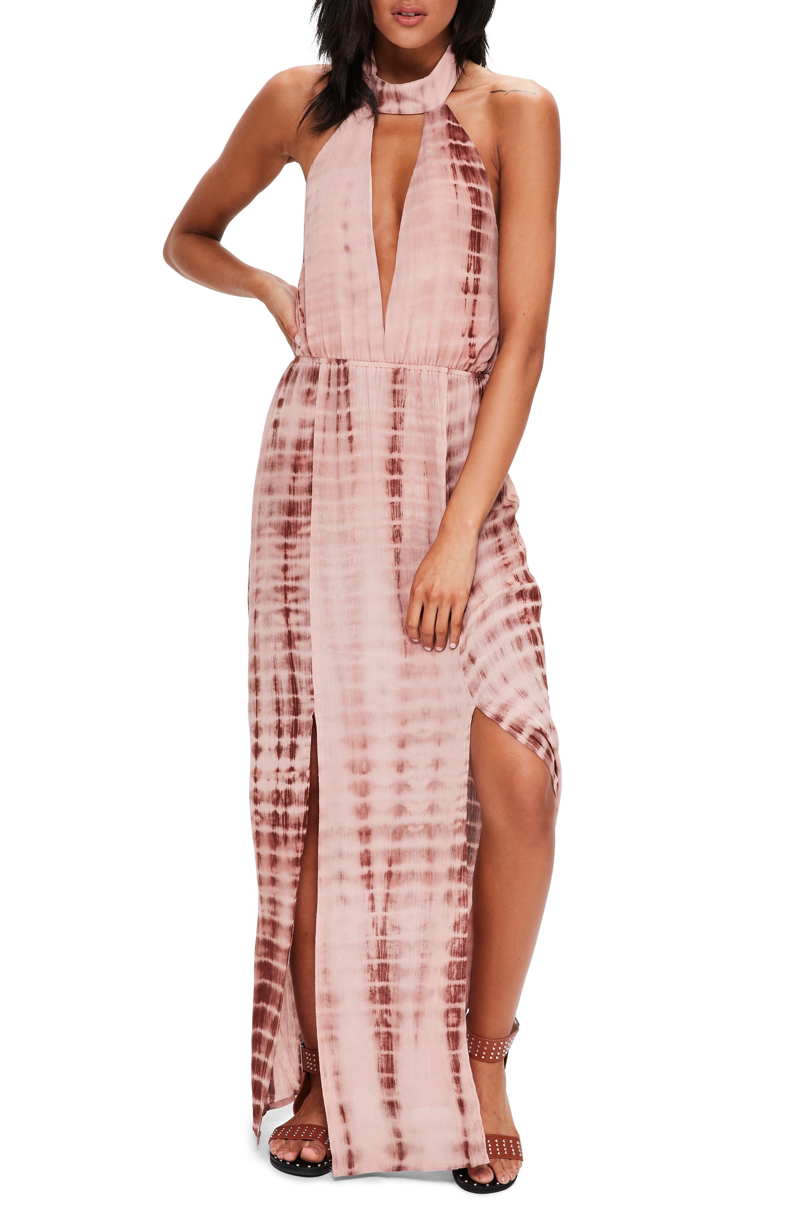 Missguided Tie Dye Halter Maxi Dress