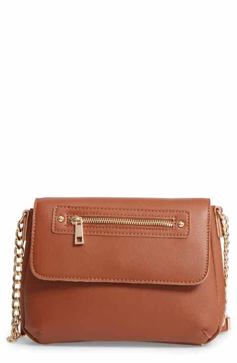 BP. Faux Leather Zip Flap Crossbody Bag