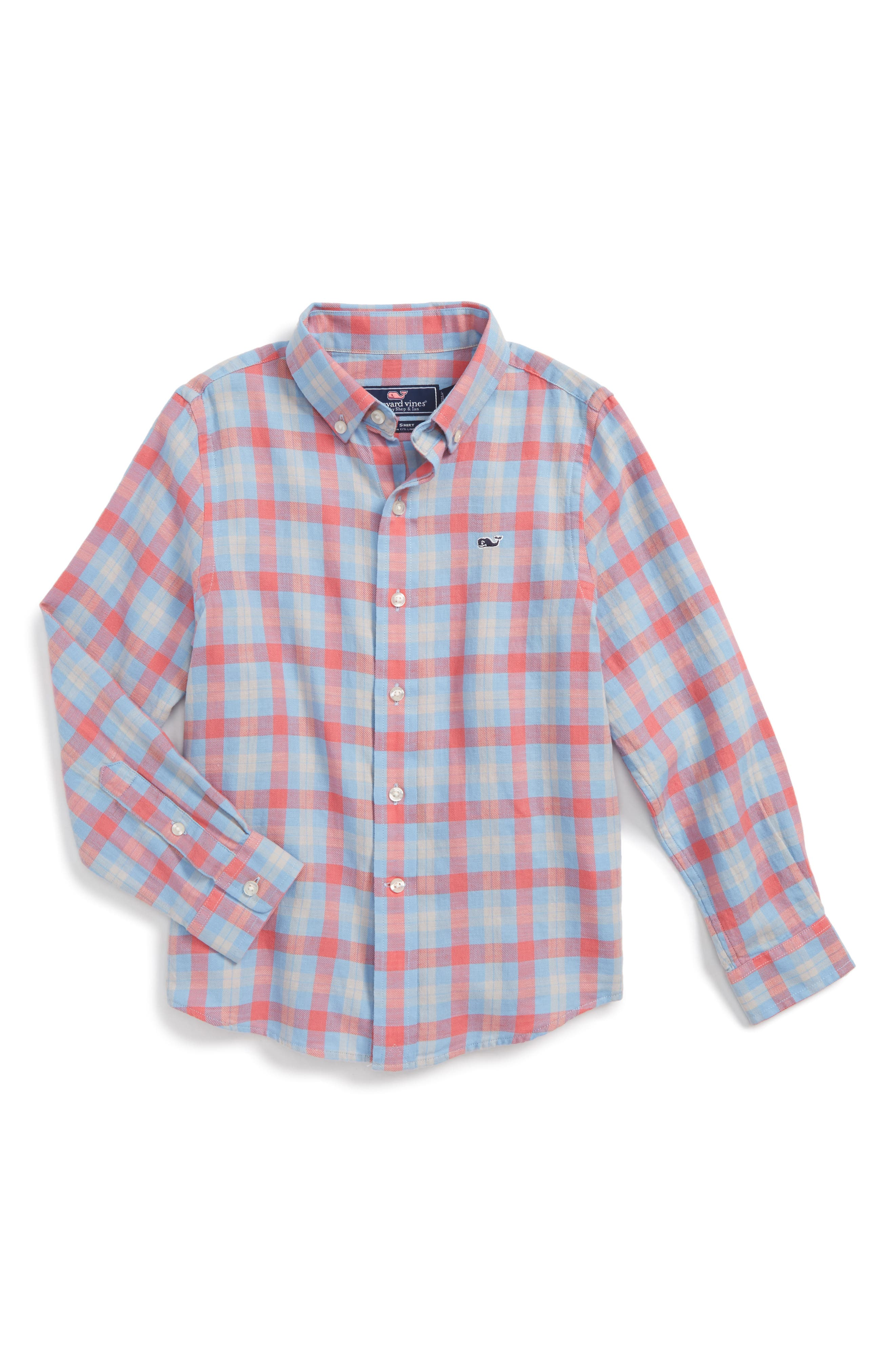 Vineyard Vines Hullman Point Plaid Cotton & Linen Shirt (Toddler Boys & Little Boys)