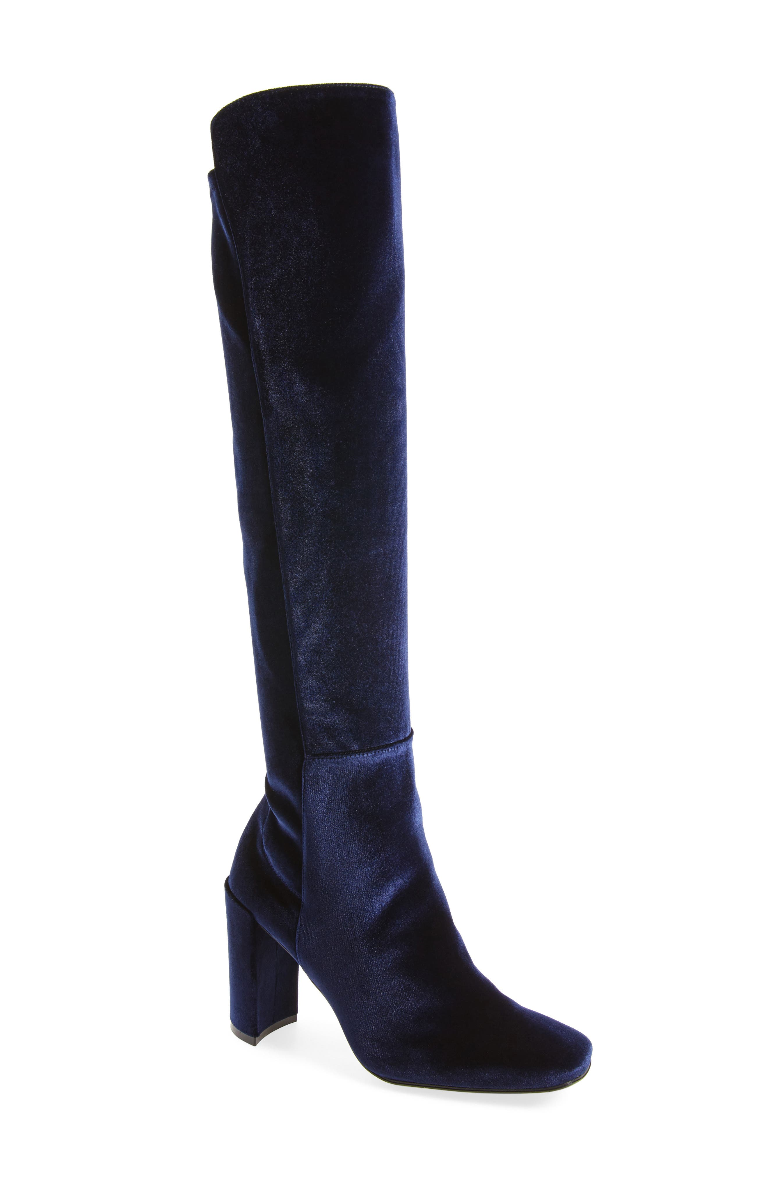 Stuart Weitzman Jackson Stretch Velvet Knee High Boot (Women)