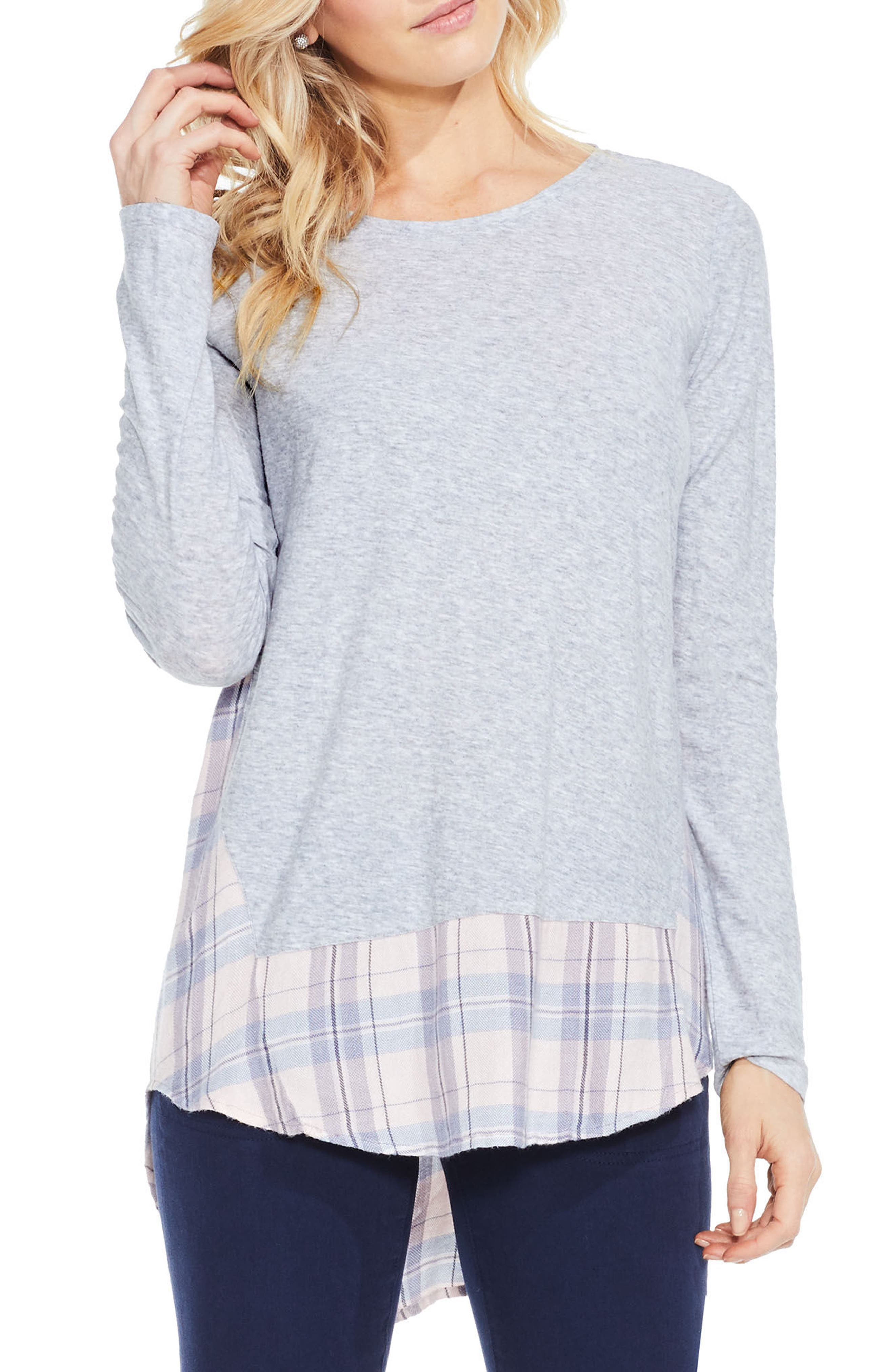 Two by Vince Camuto Mixed Media Plaid Top