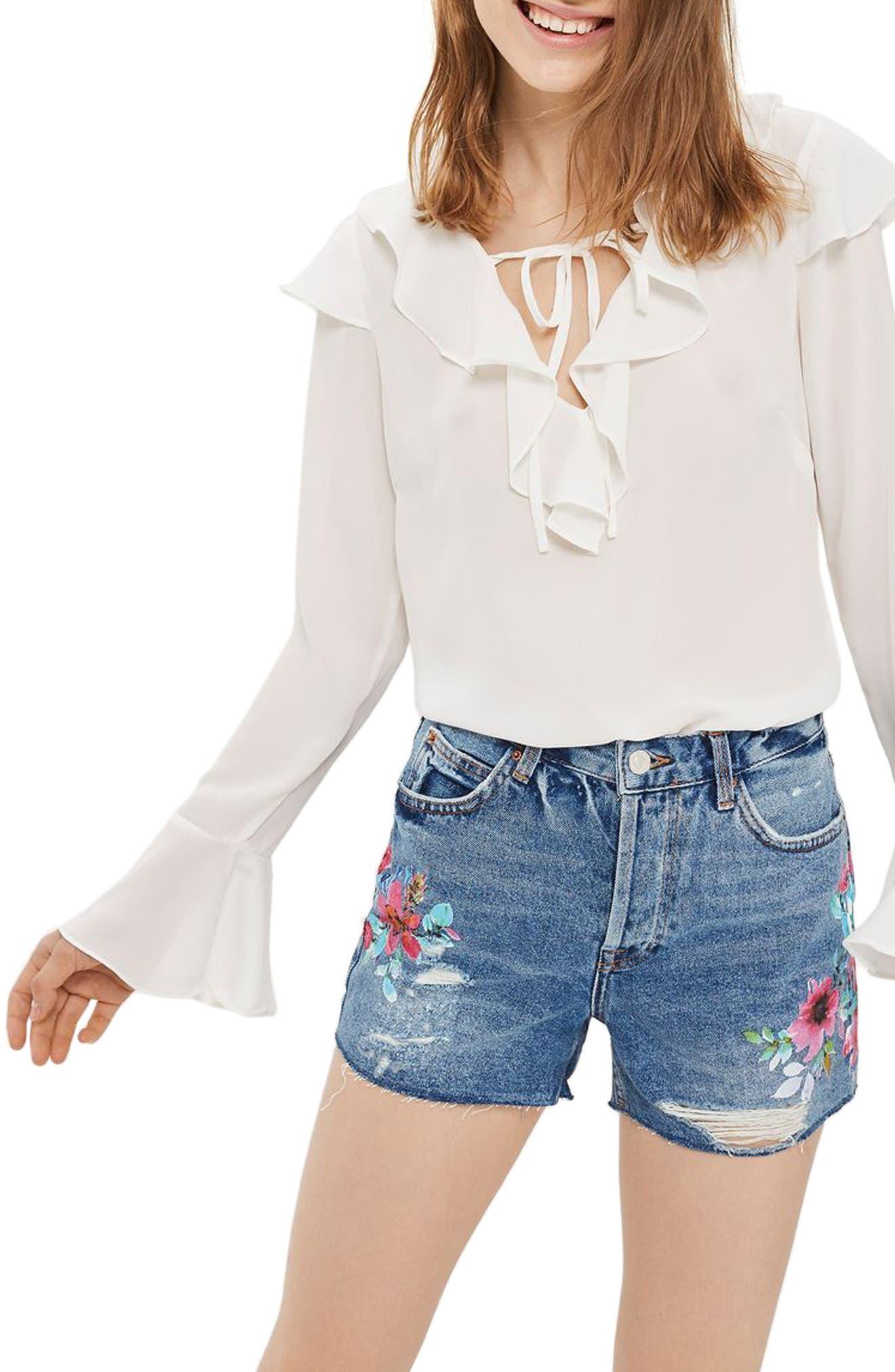Topshop Ashley Floral Painted Denim Shorts
