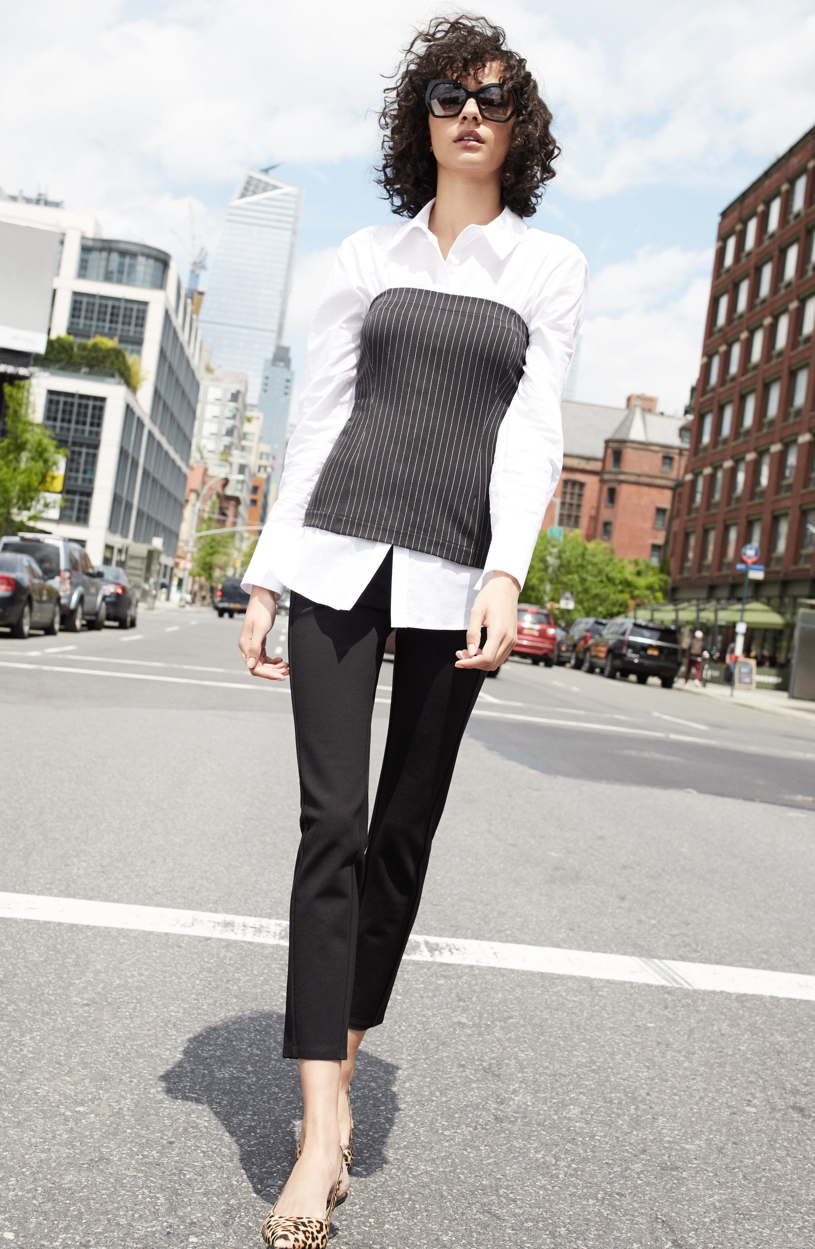 Pleione Corset Blouse & Halogen® Skinny Pants Outfit with Accessories