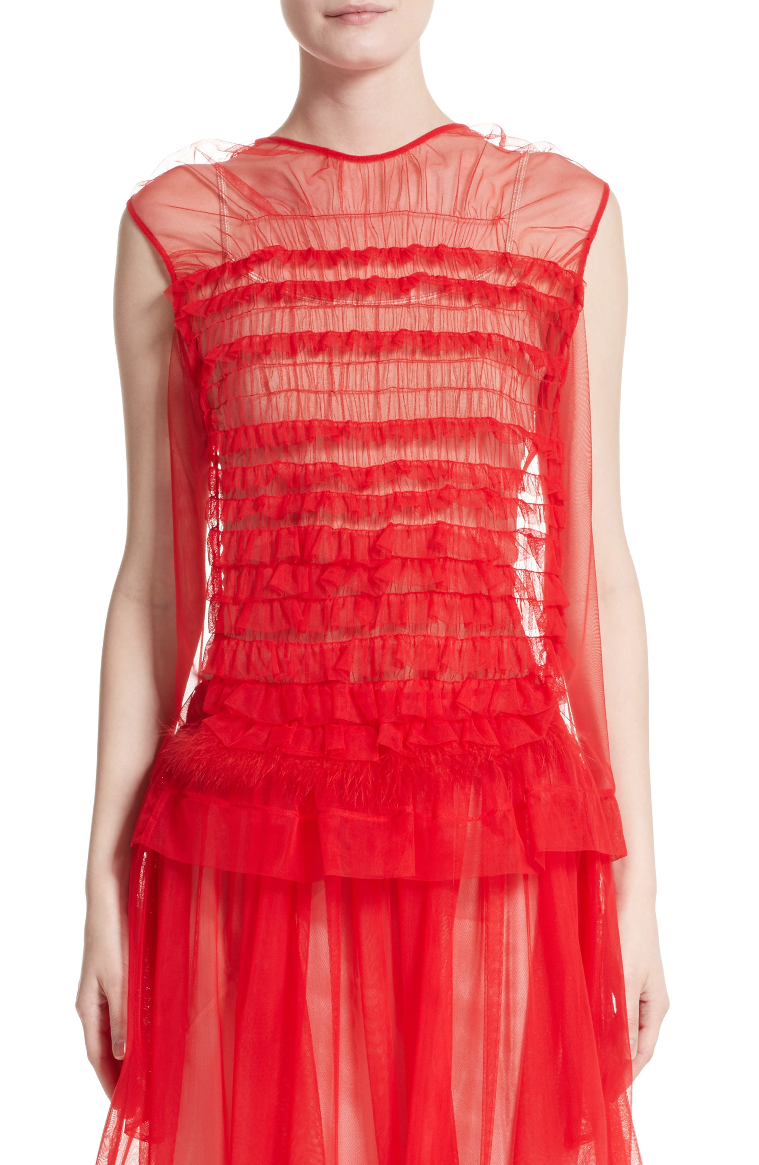 Simone Rocha Teddy Feather Trim Tulle Top (Nordstrom Exclusive)