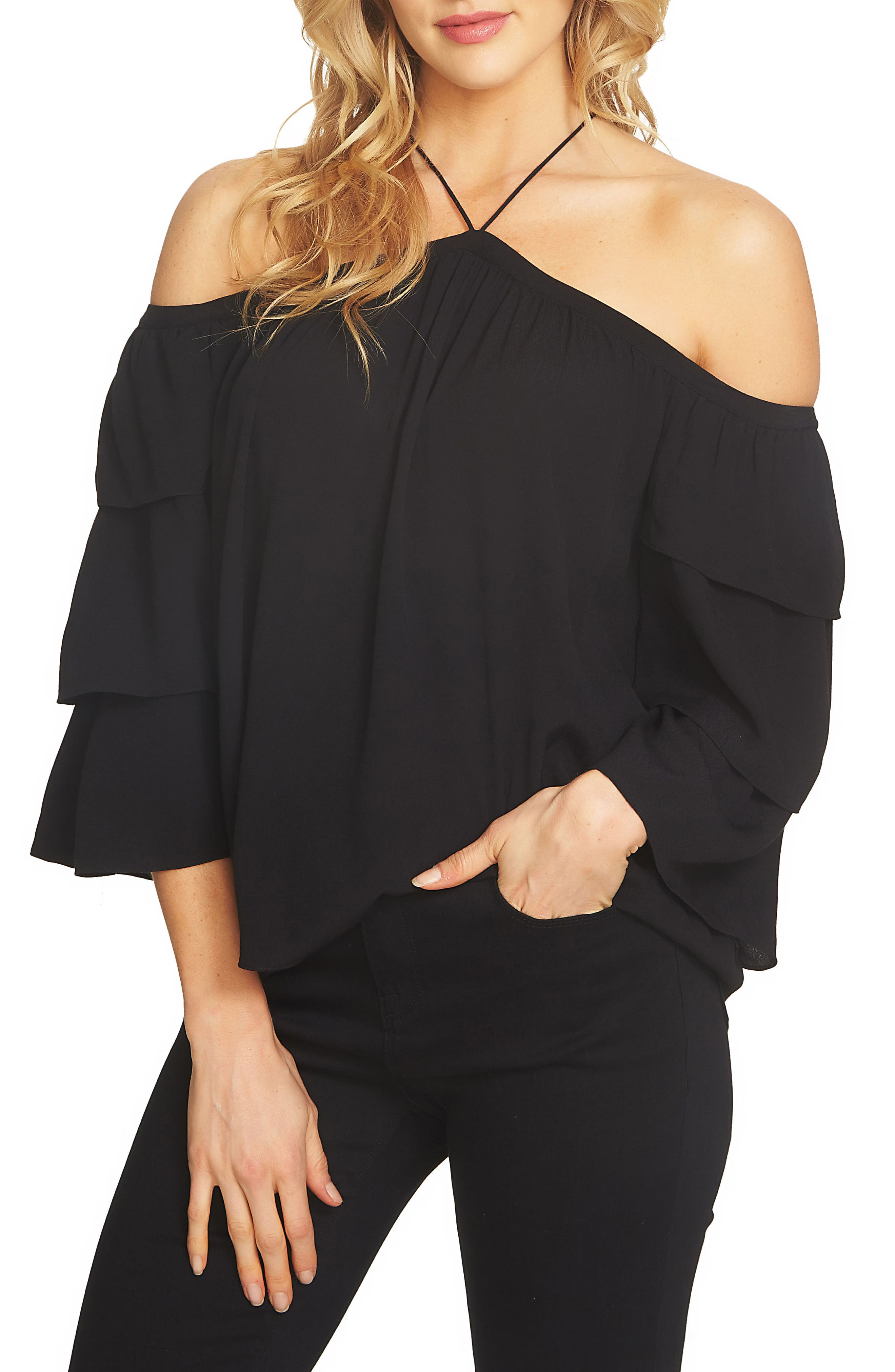 1.STATE Cold Shoulder Blouse
