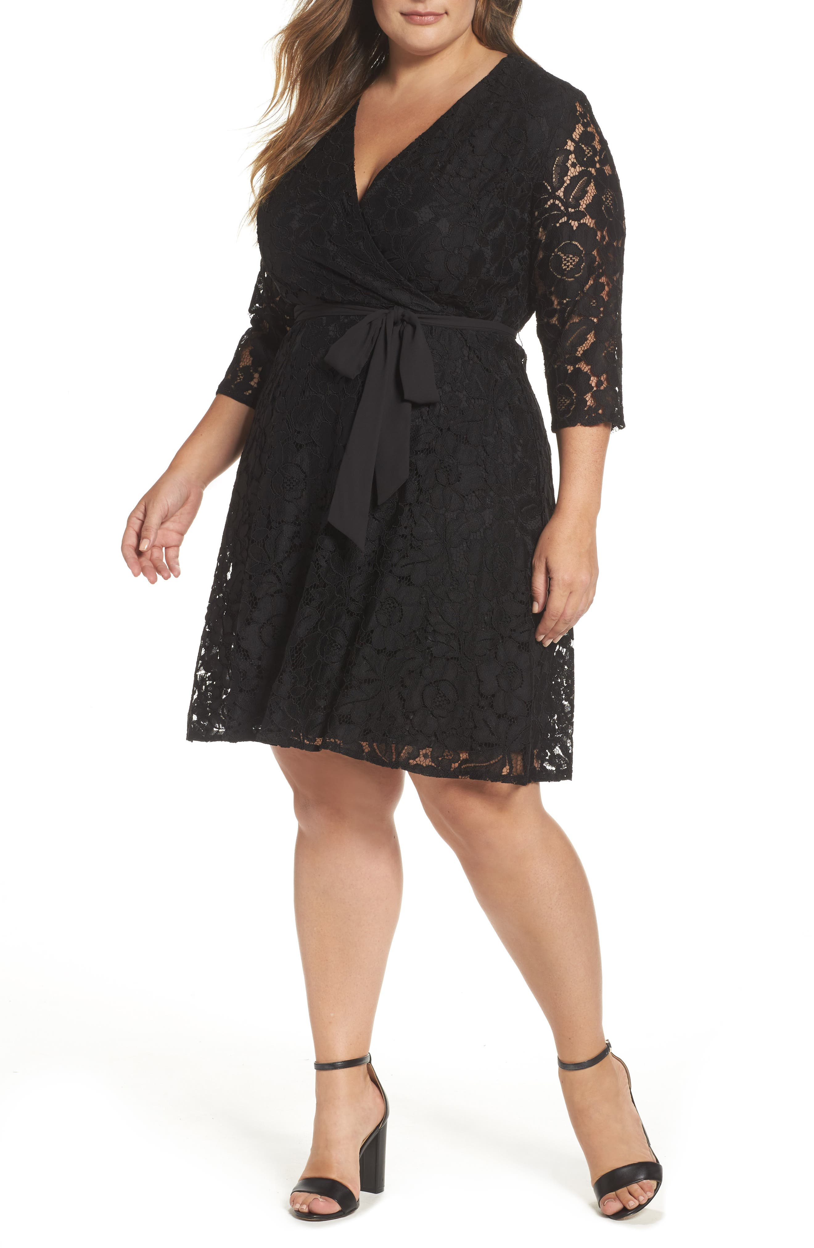 Ellen Tracy Lace Faux Wrap Dress (Plus Size)