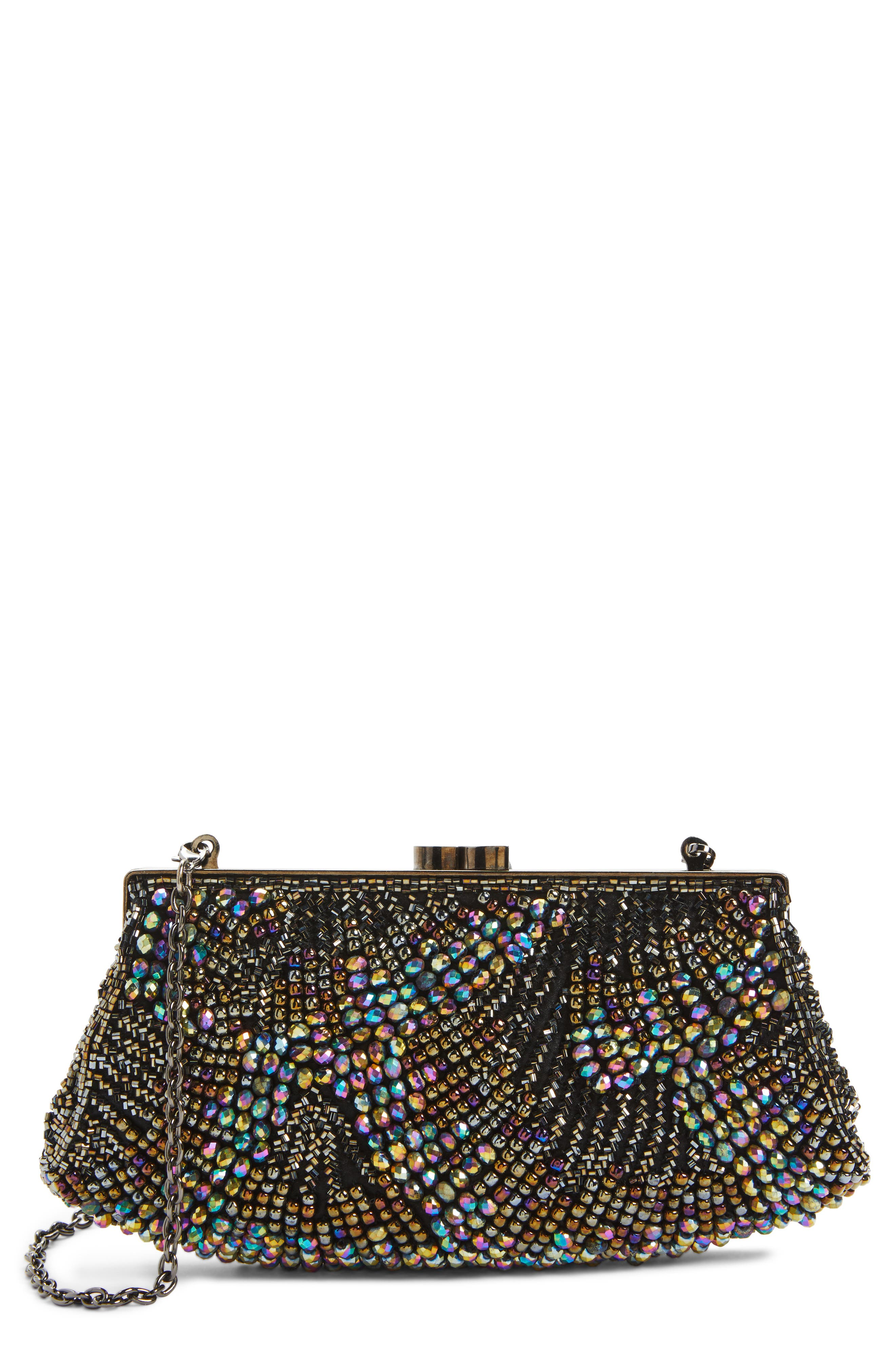 Nordstrom Faceted Fan Beaded Evening Clutch