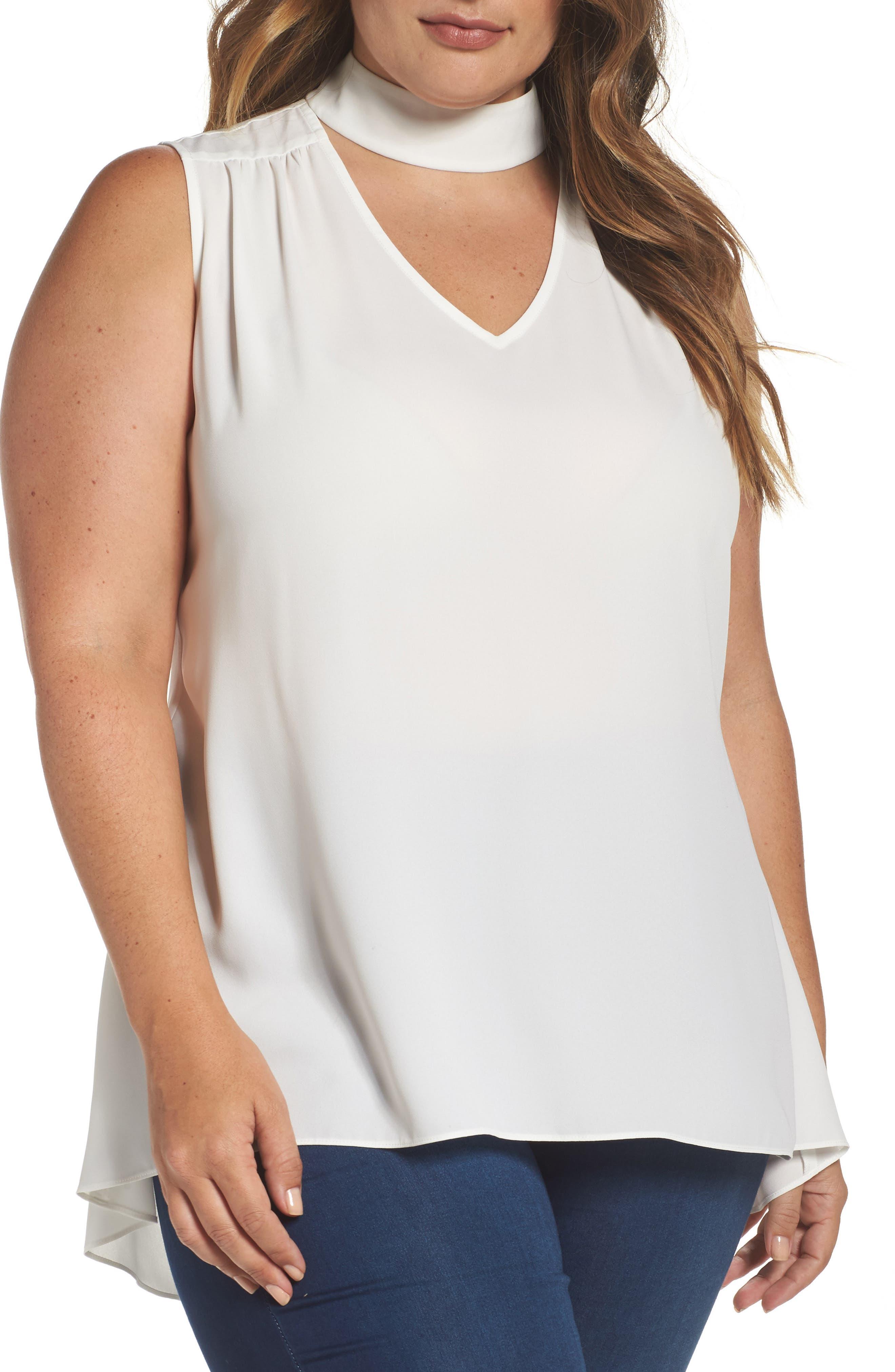 Vince Camuto Choker Neck Top (Plus Size)