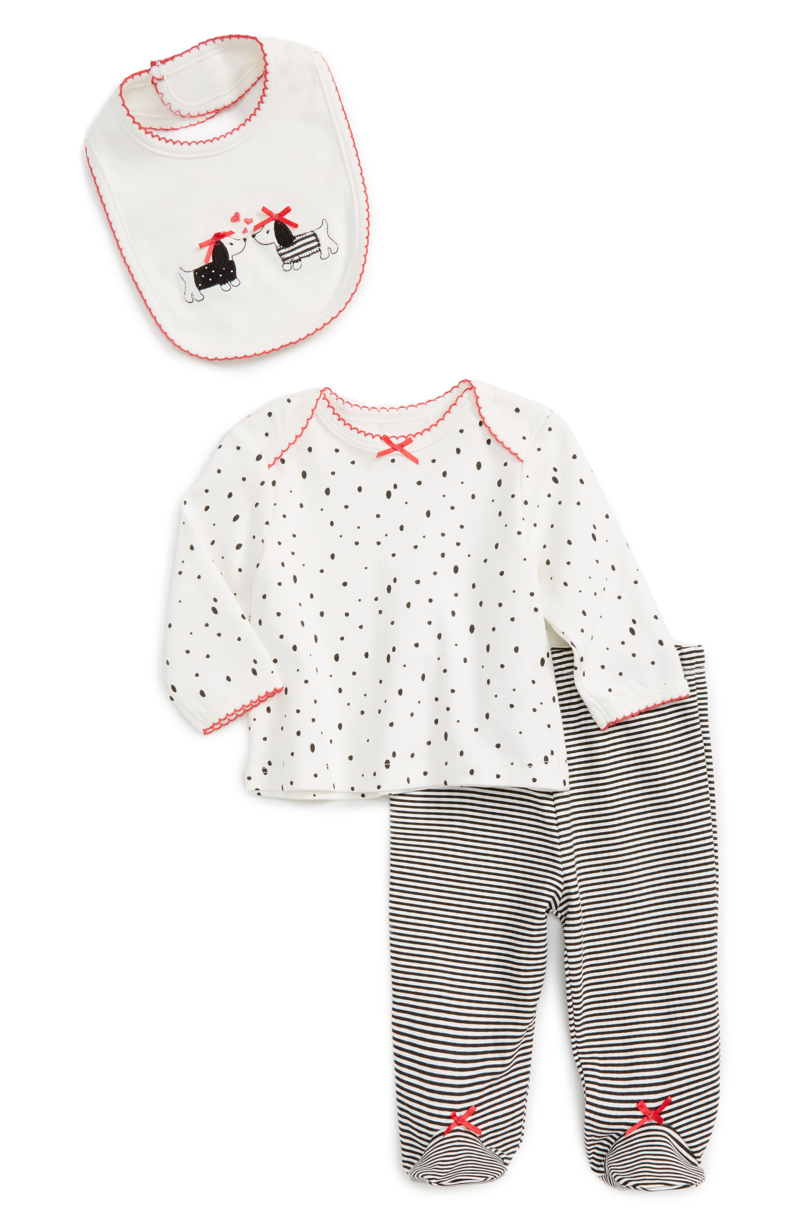 Little Me Dalmation Tee, Pants & Bib Set (Baby Girls)