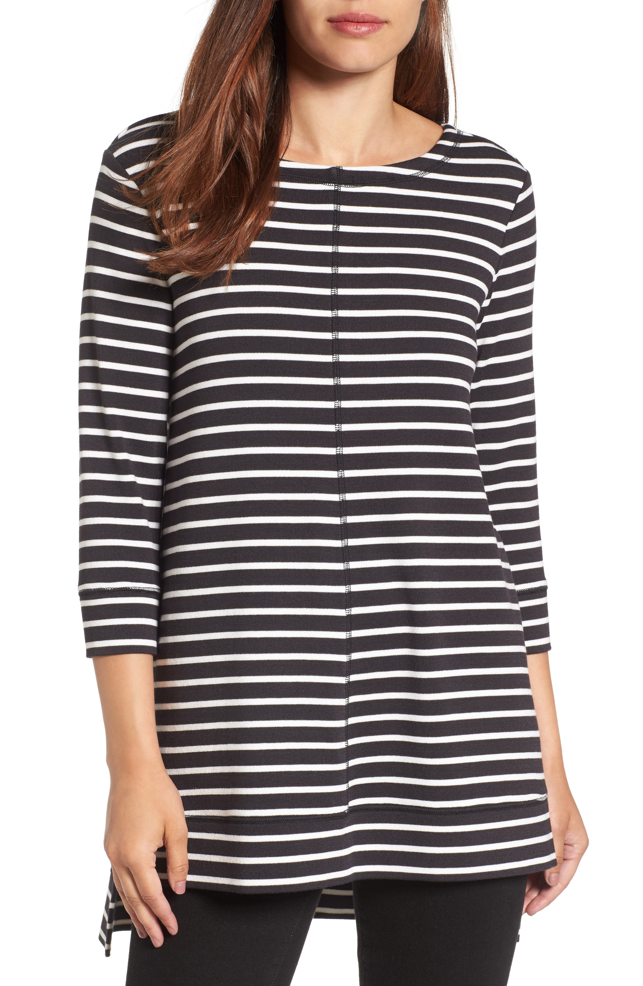 Caslon® Three Quarter Sleeve Side Slit Tunic (Regular & Petite)