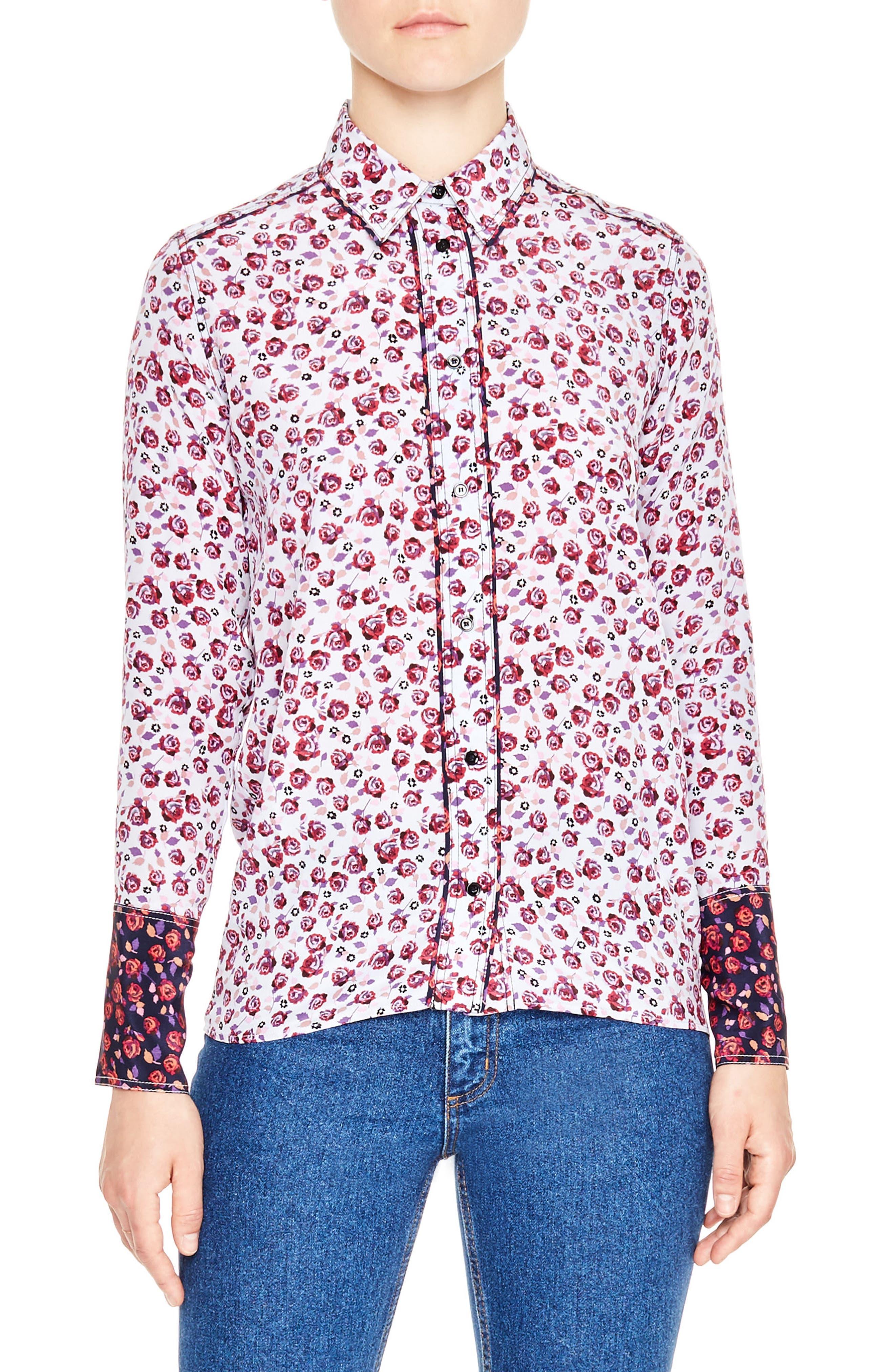 sandro Floral Print Silk Shirt