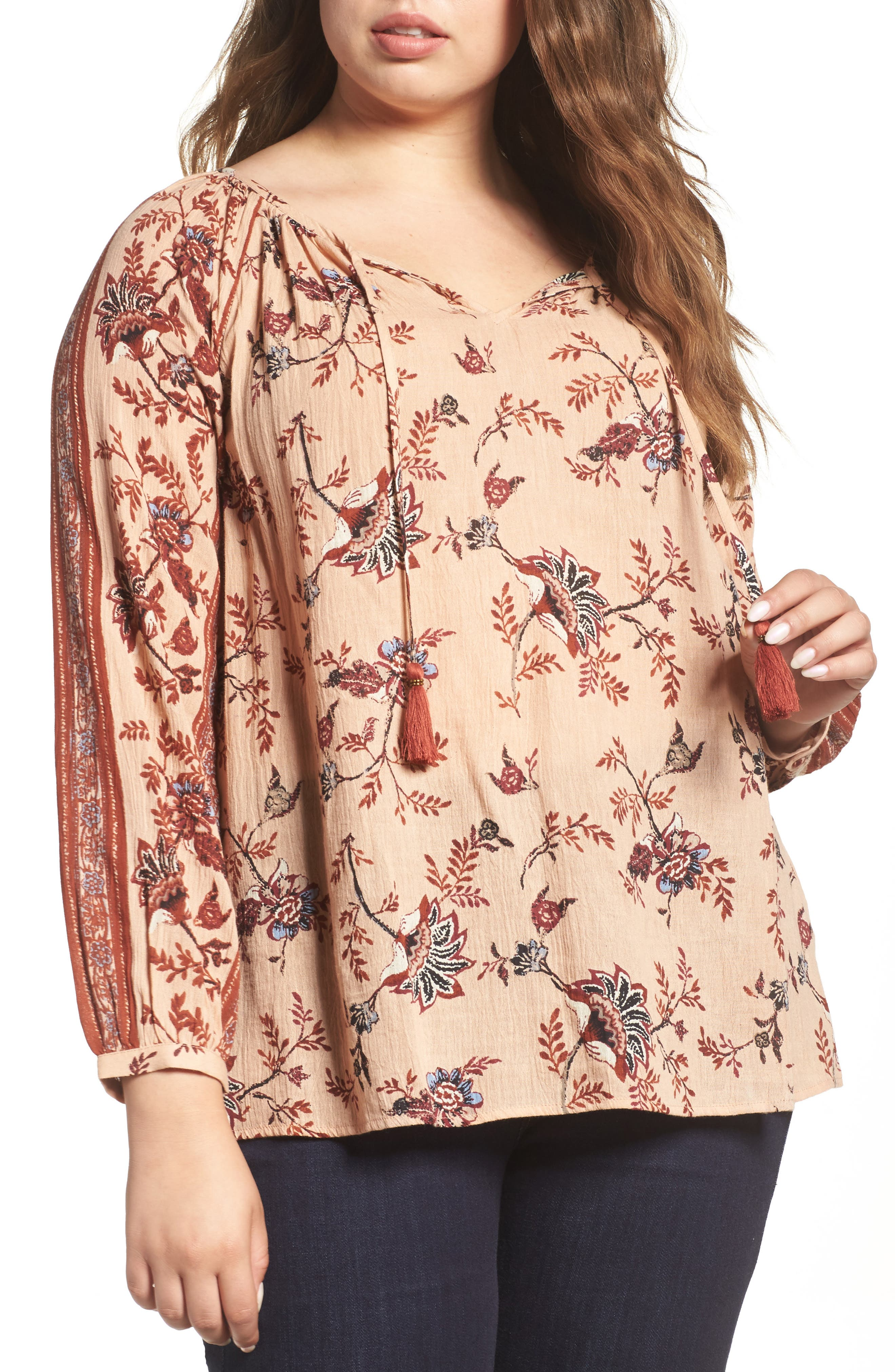 Lucky Brand Border Print Tie Neck Peasant Top (Plus Size)