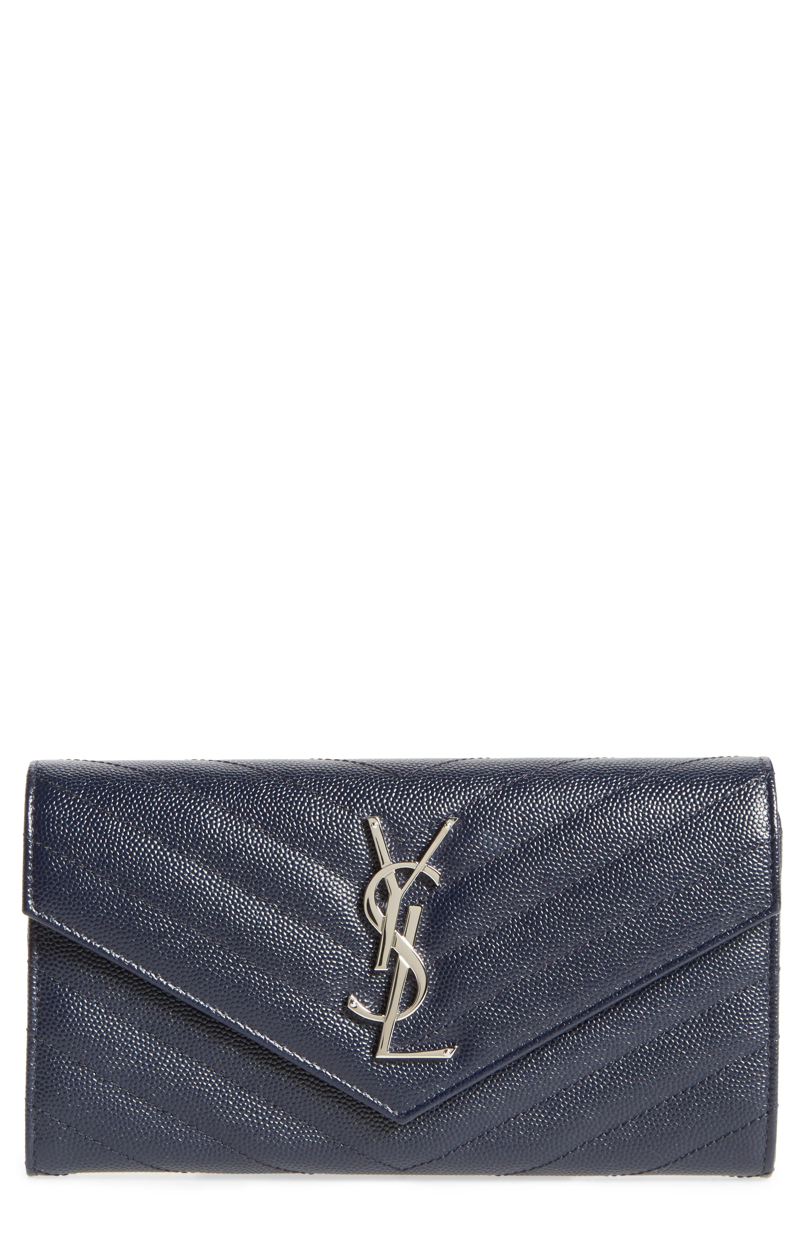 Saint Laurent M atelassé Leather Envelope Wallet
