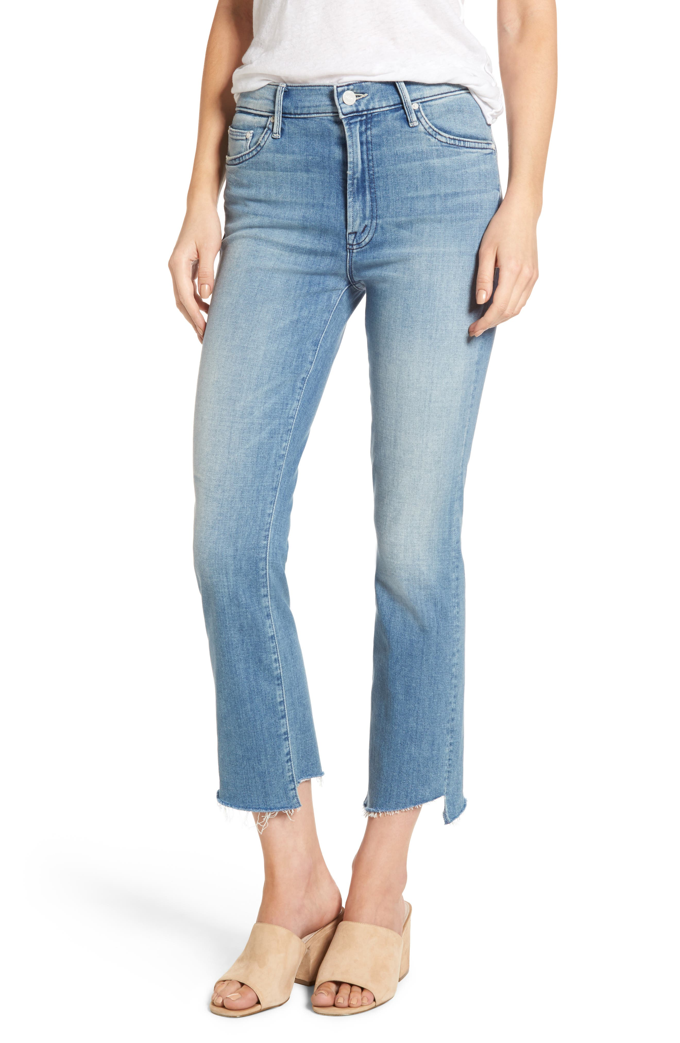 MOTHER The Insider Step Hem Crop Bootcut Jeans (When Sparks Fly)
