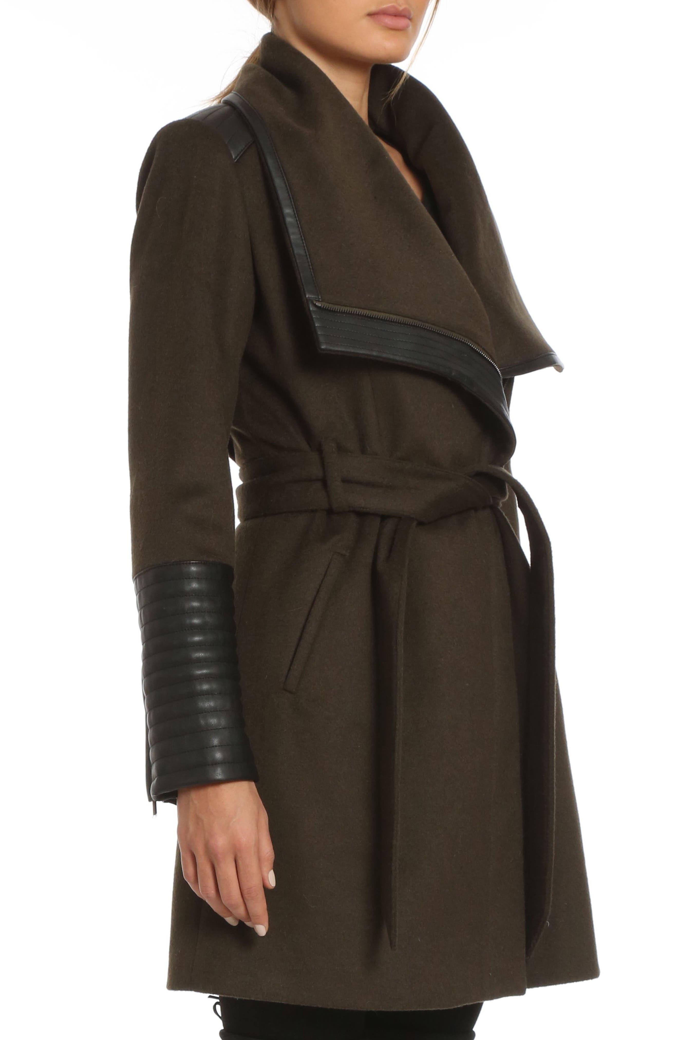 Alternate Image 3  - Belle BadgleyMischka 'Lorian' FauxLeather Trim BeltedAsymmetrical Wool Blend Coat
