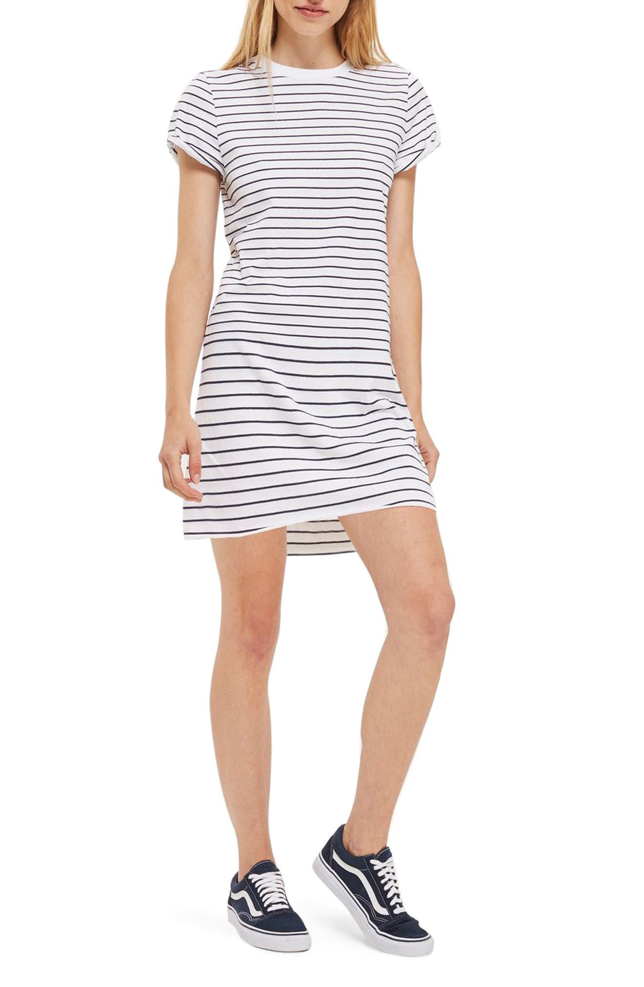 Topshop Stripe Roll Sleeve T-Shirt Dress (Petite)