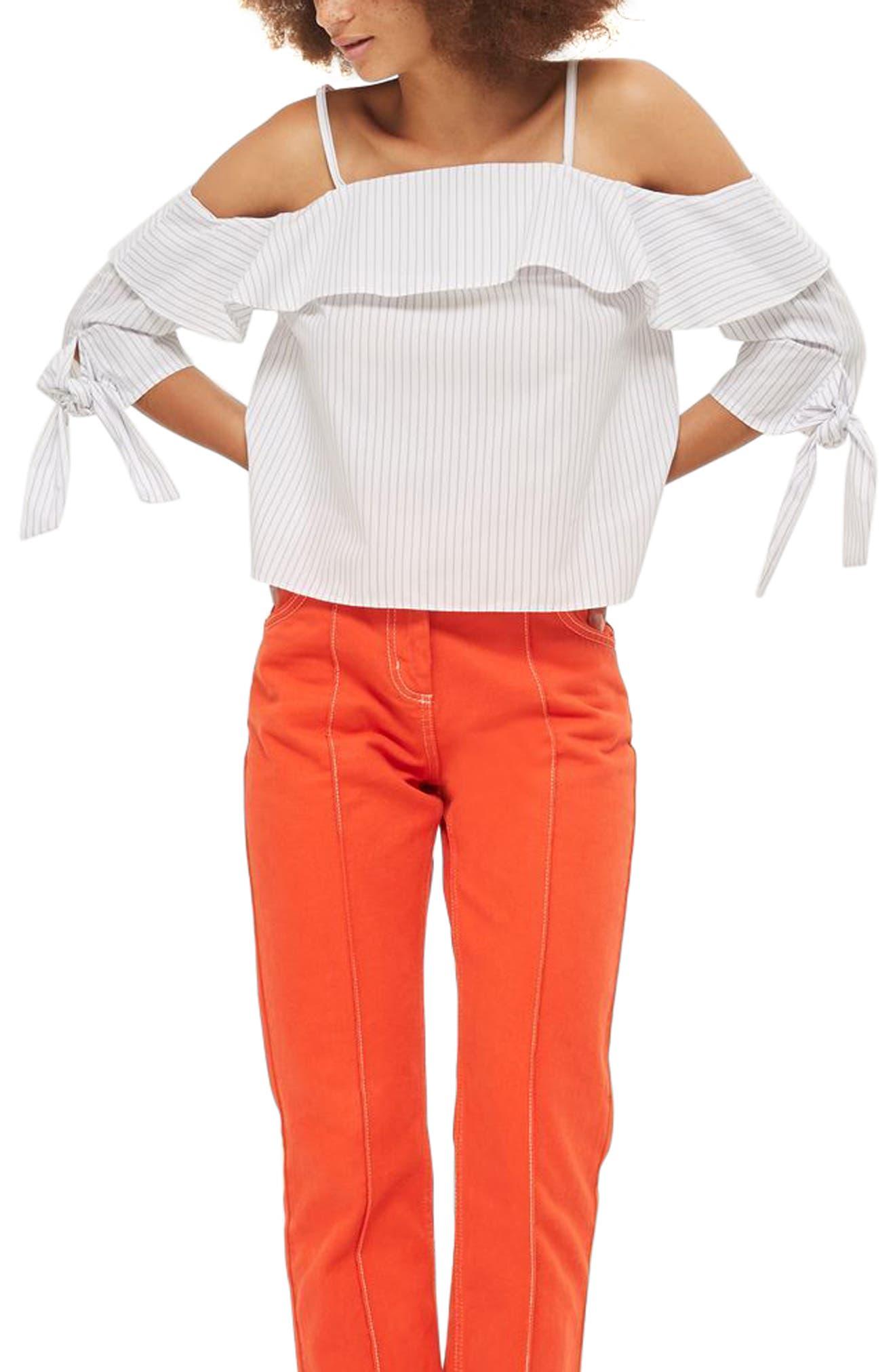 Topshop Stripe Cold Shoulder Blouse