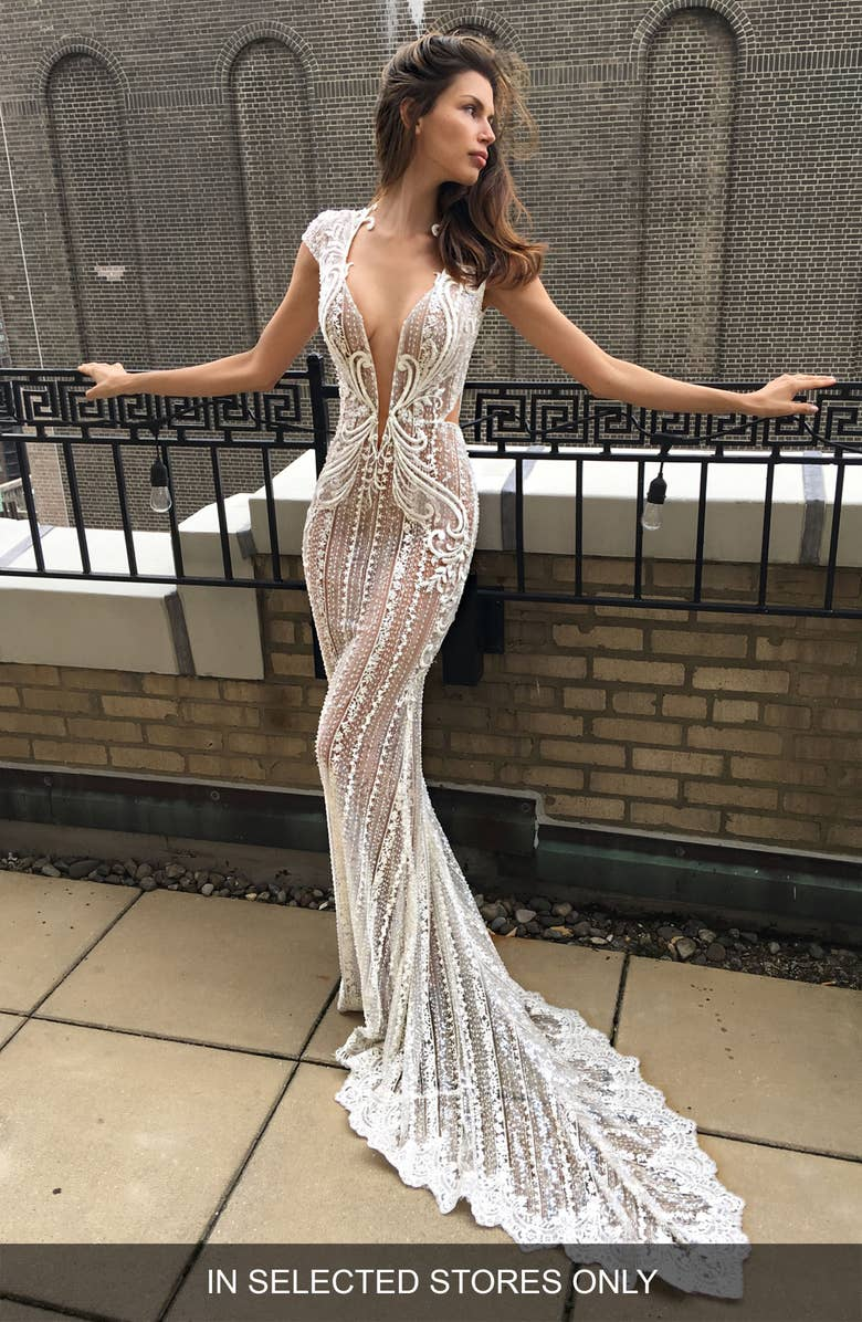 Berta Cap Sleeve Embellished Mermaid Gown
