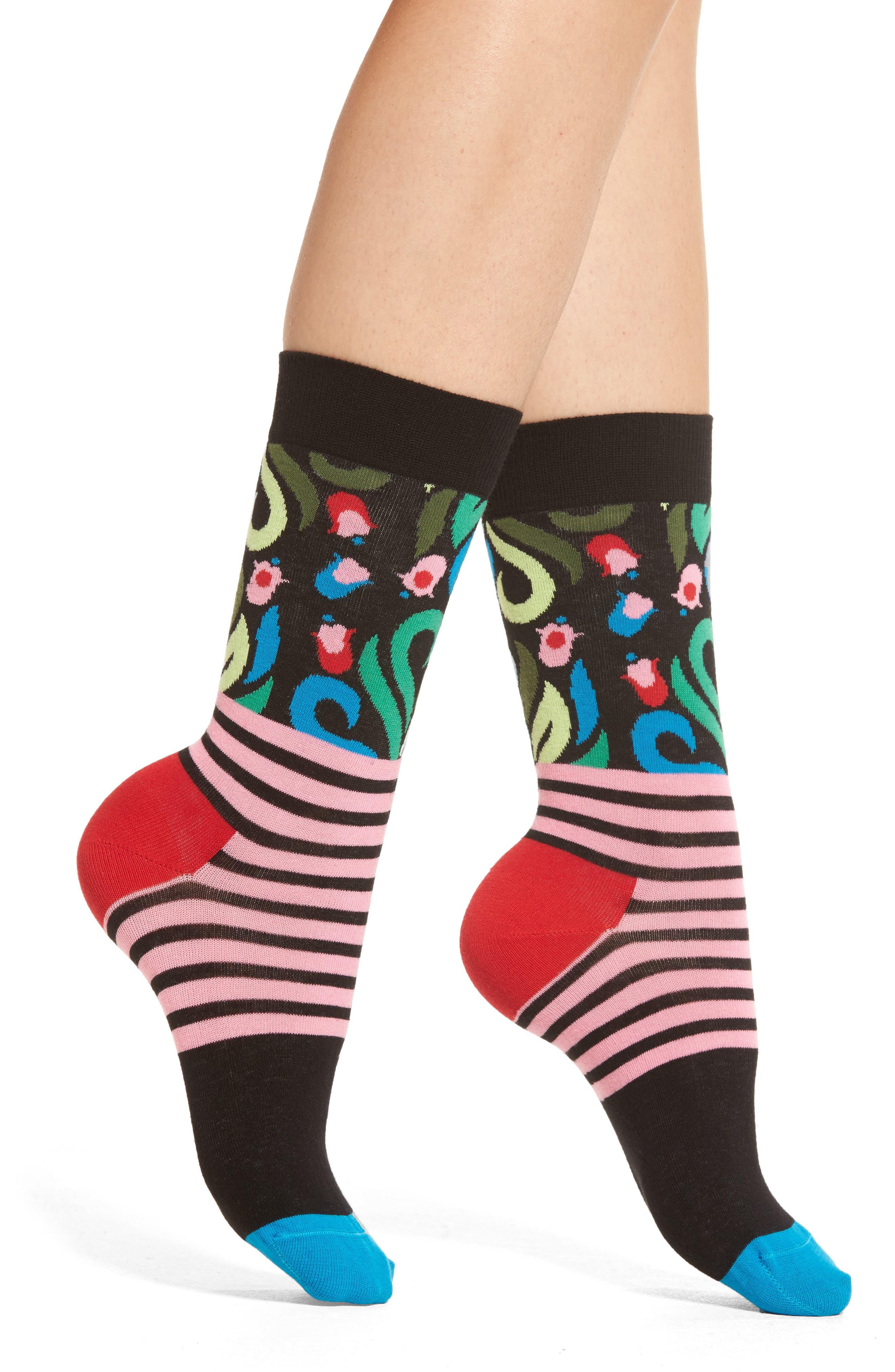 Happy Socks Flower Stripe Crew Socks (3 for $24)
