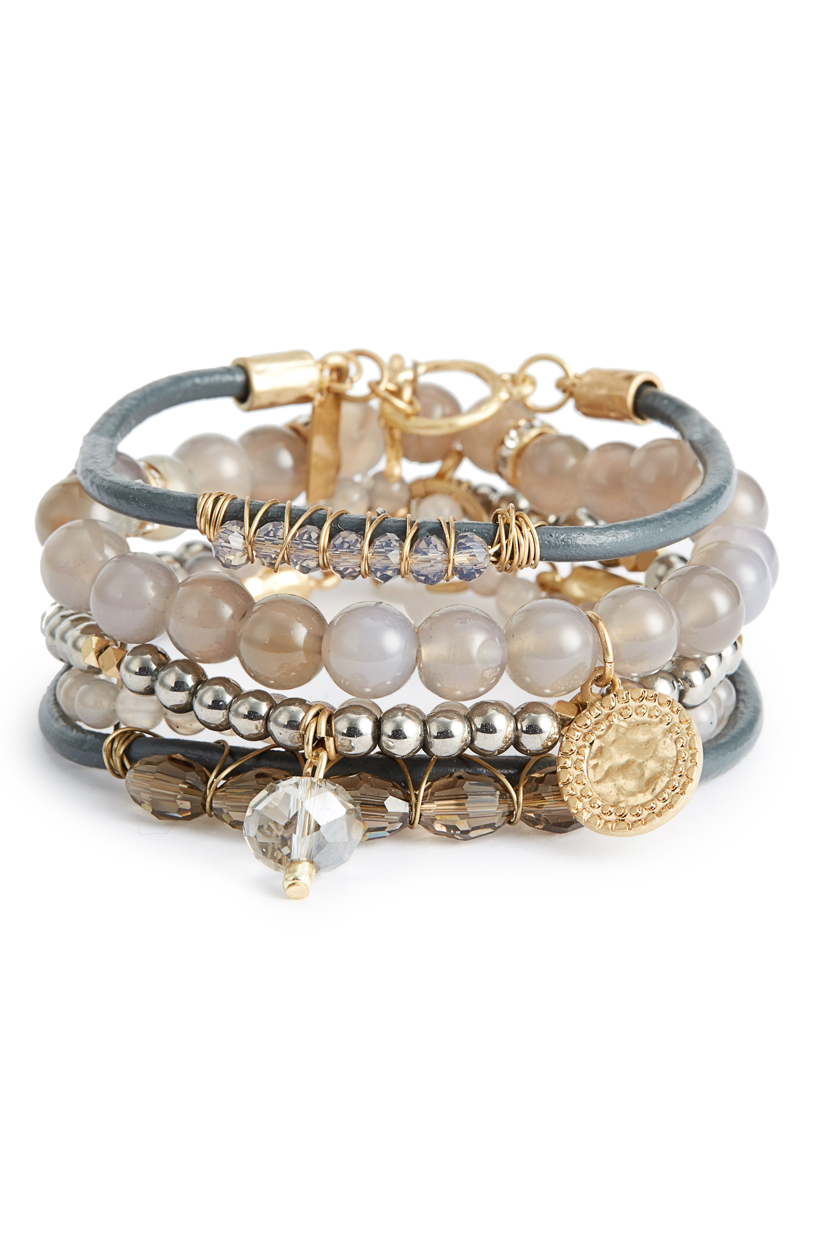 Canvas 5-Piece Semiprecious Stone Stacking Bracelet