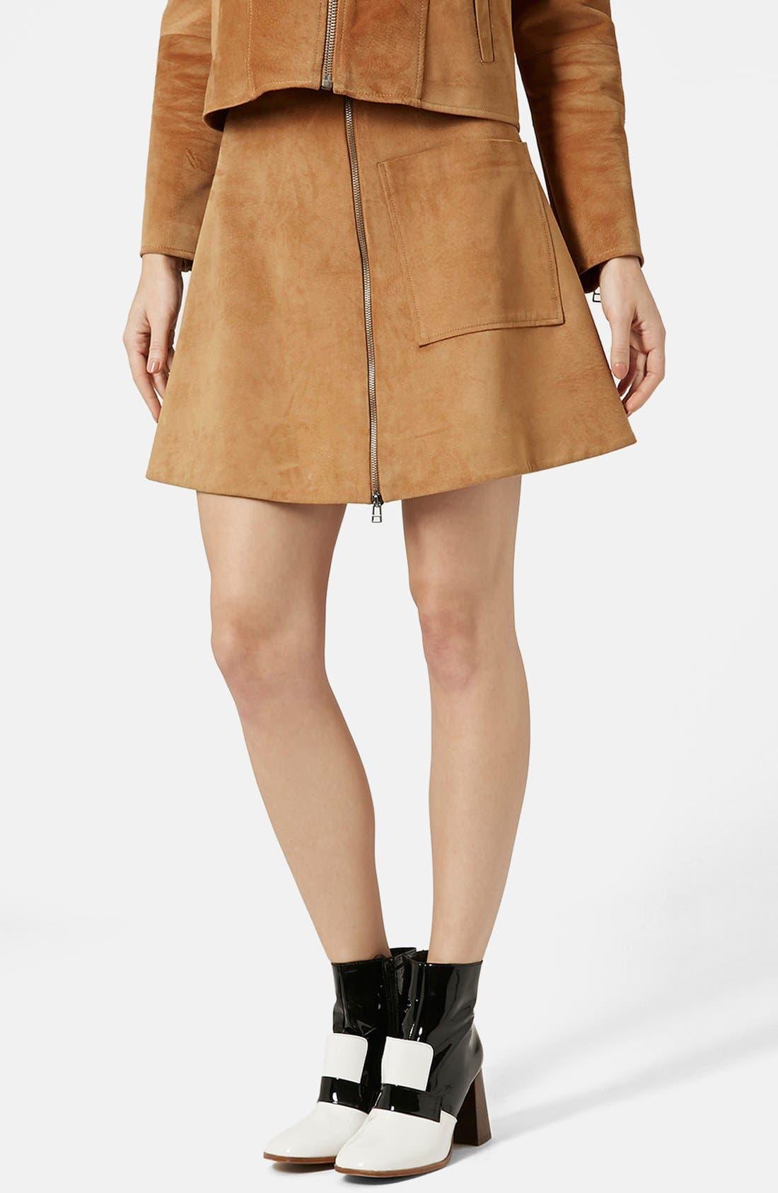 Main Image - Topshop Front Zip Suede Skirt (Brit Pop-In) (Nordstrom Exclusive)