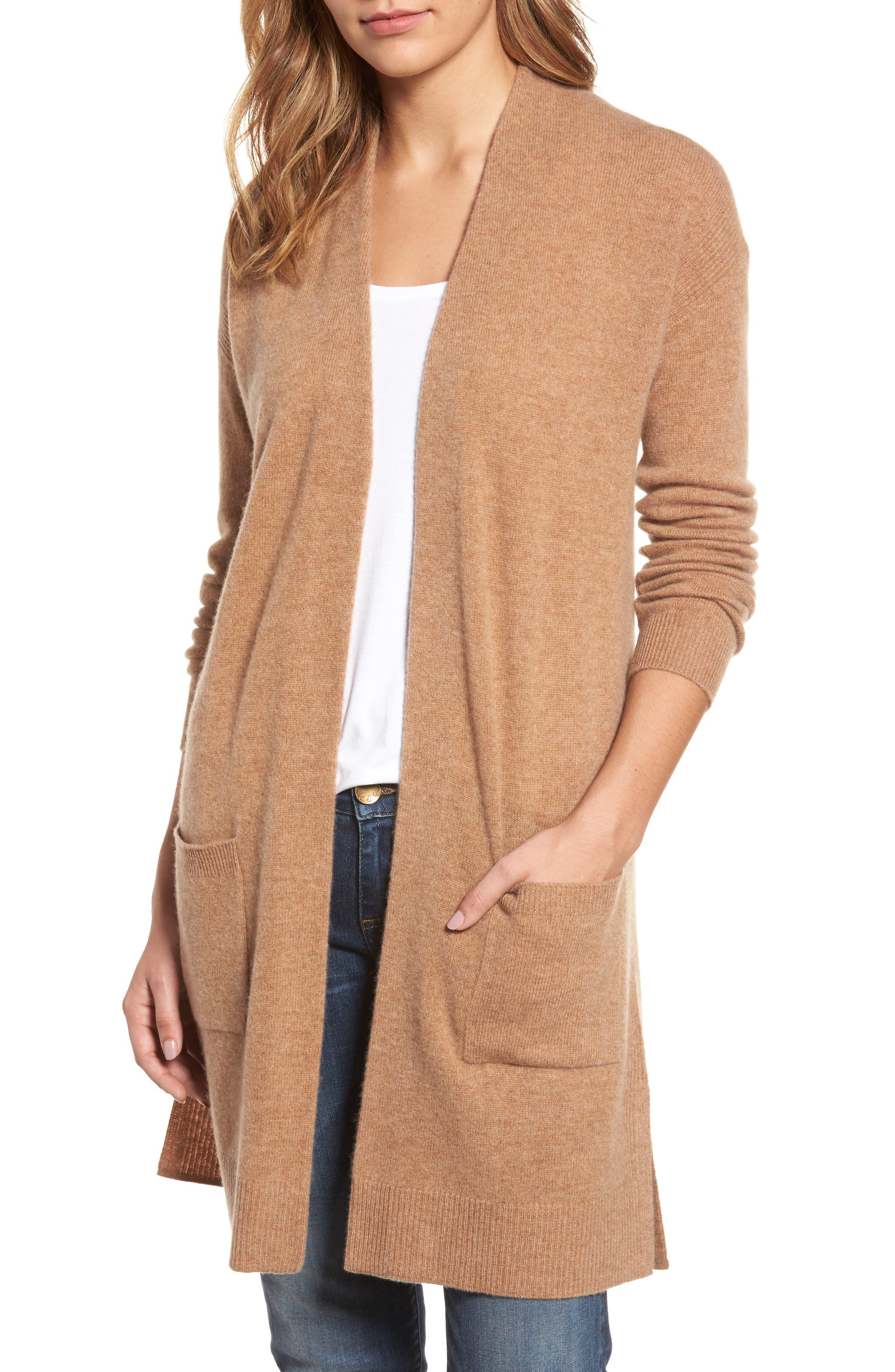 Halogen® Rib Knit Wool & Cashmere Cardigan