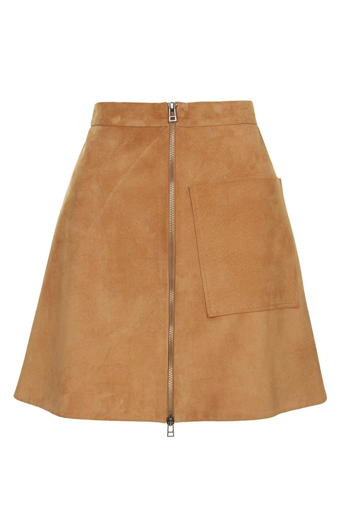 Alternate Image 5  - Topshop Front Zip Suede Skirt (Brit Pop-In) (Nordstrom Exclusive)