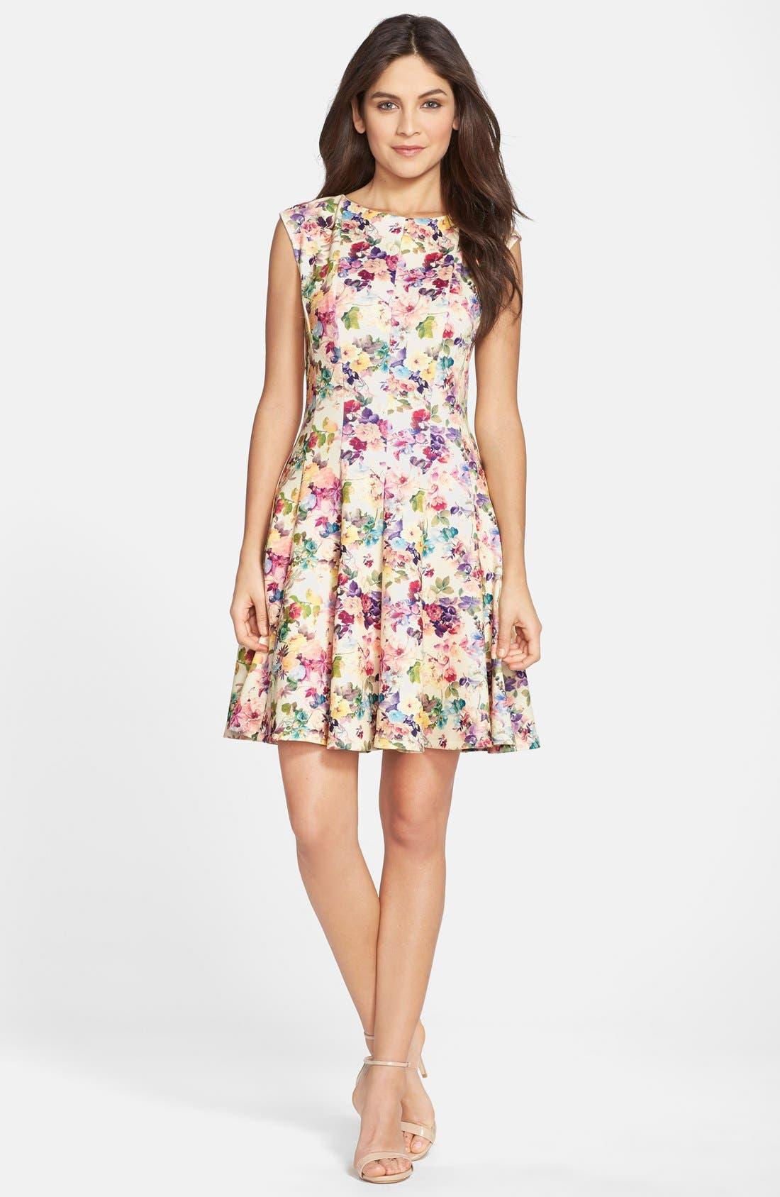 Alternate Image 3  - Gabby Skye Floral Print Scuba Fit & Flare Dress